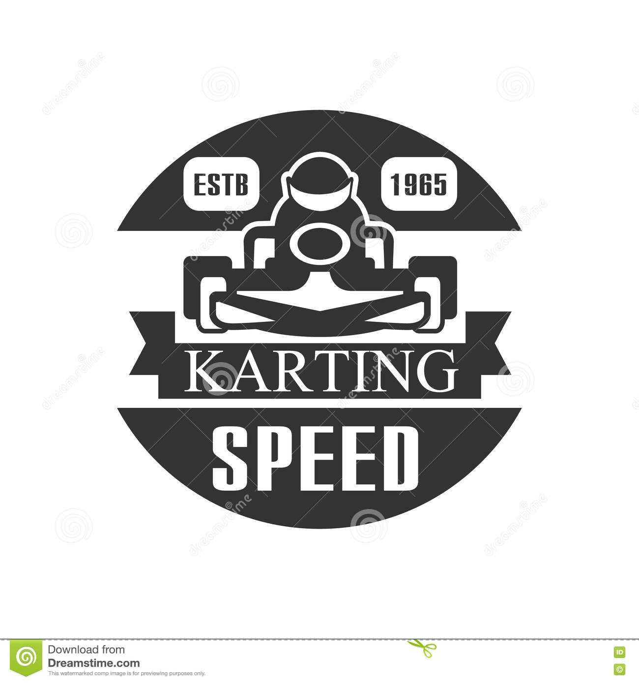 Design car club logo - Karting Club Speed Racing Black And White Logo Design Template With Rider In Kart Silhouette Royalty