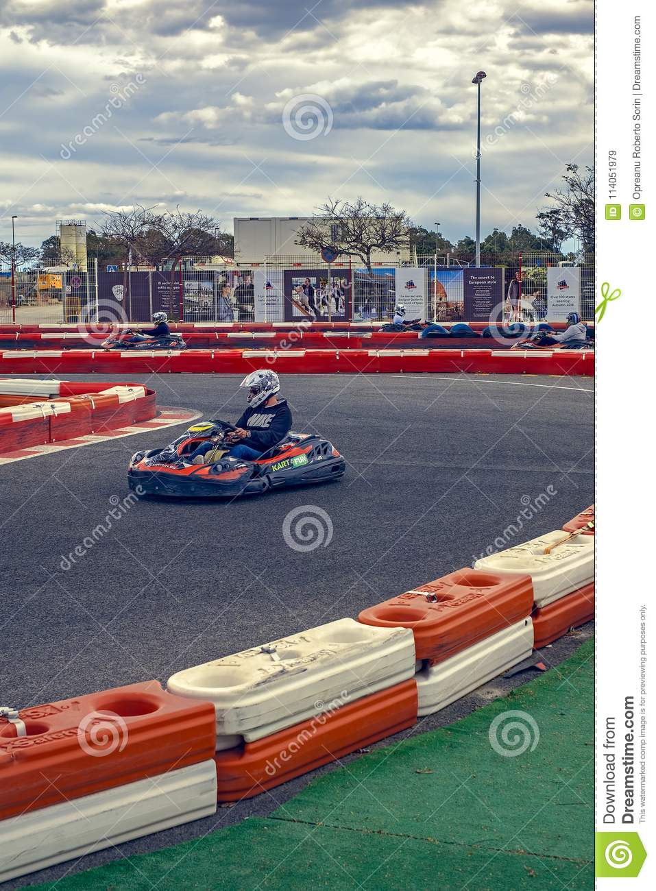 Karting racer in action