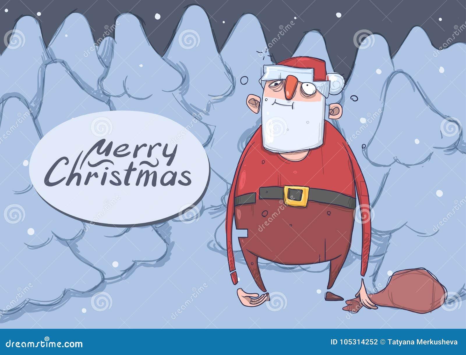 Kartka bożonarodzeniowa śmieszny pijący Święty Mikołaj z torbą w nocy śnieżny świerkowy las Marnotrawiący Święty Mikołaj dostać p