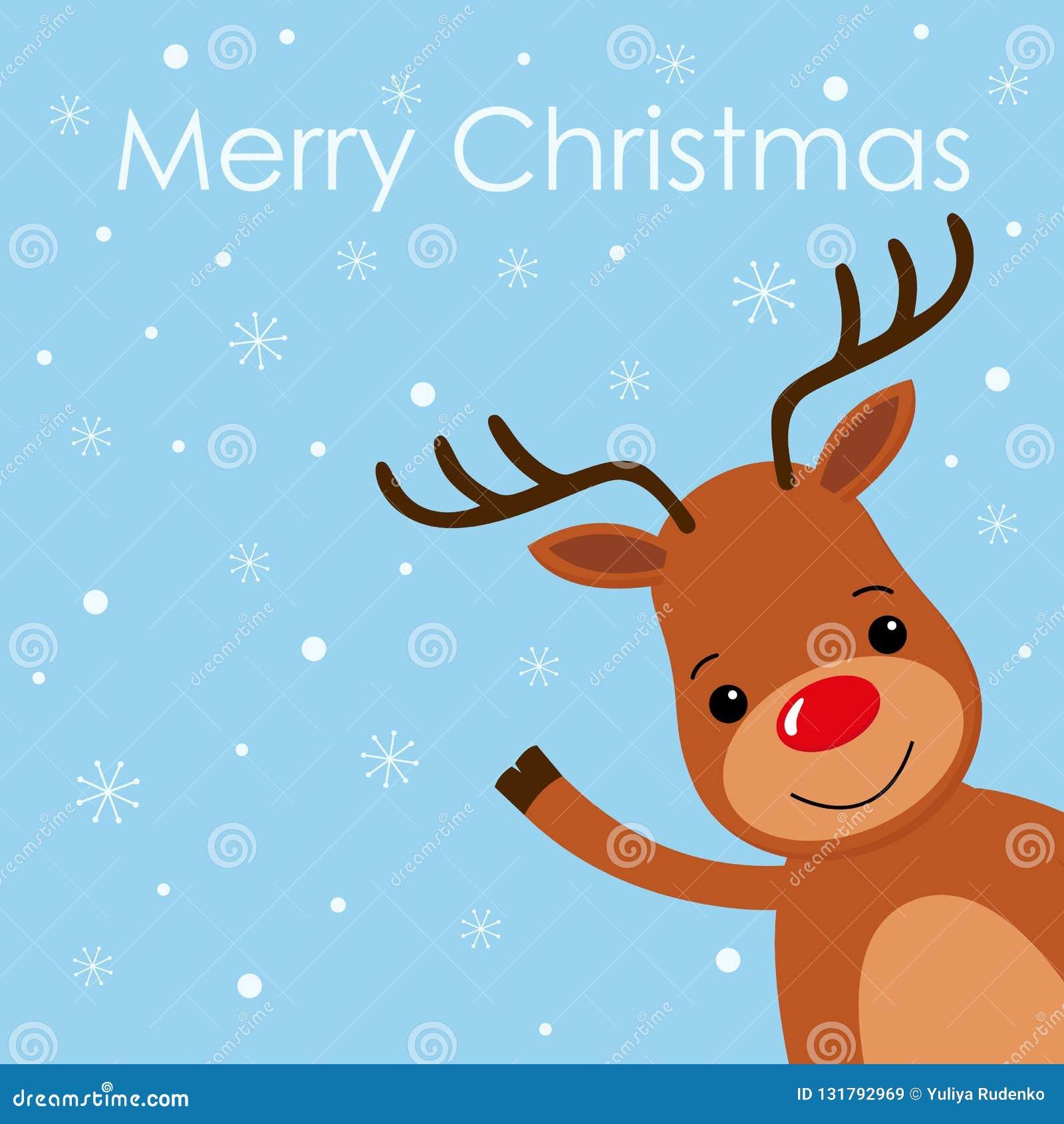 Kartka bożonarodzeniowa z ślicznym reniferowym charakterem