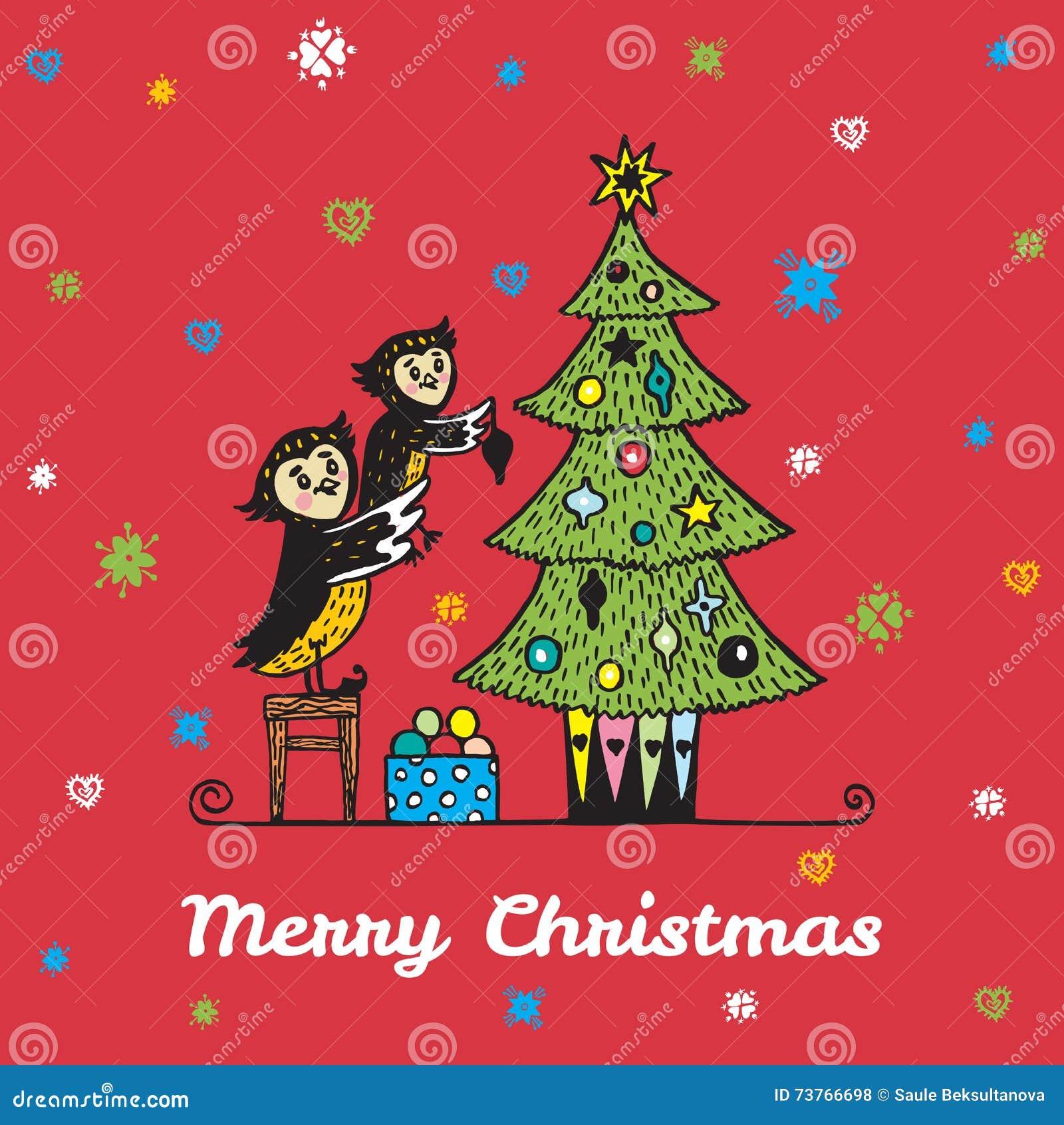 Kartka bożonarodzeniowa z ręka rysującym sowa rodzicem, dzieckiem dekoruje choinki i