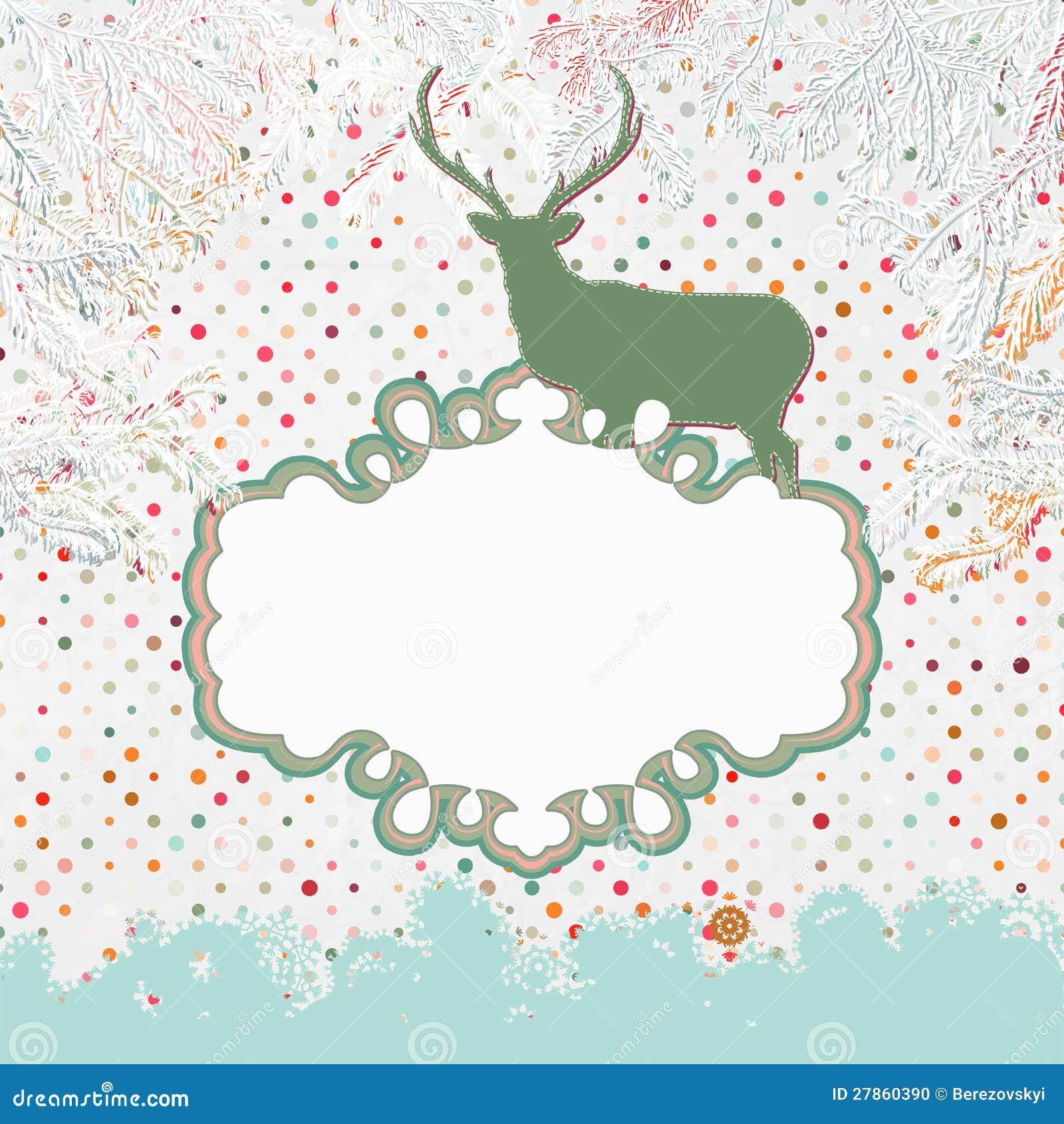 Kartka bożonarodzeniowa z rogaczem. EPS 8