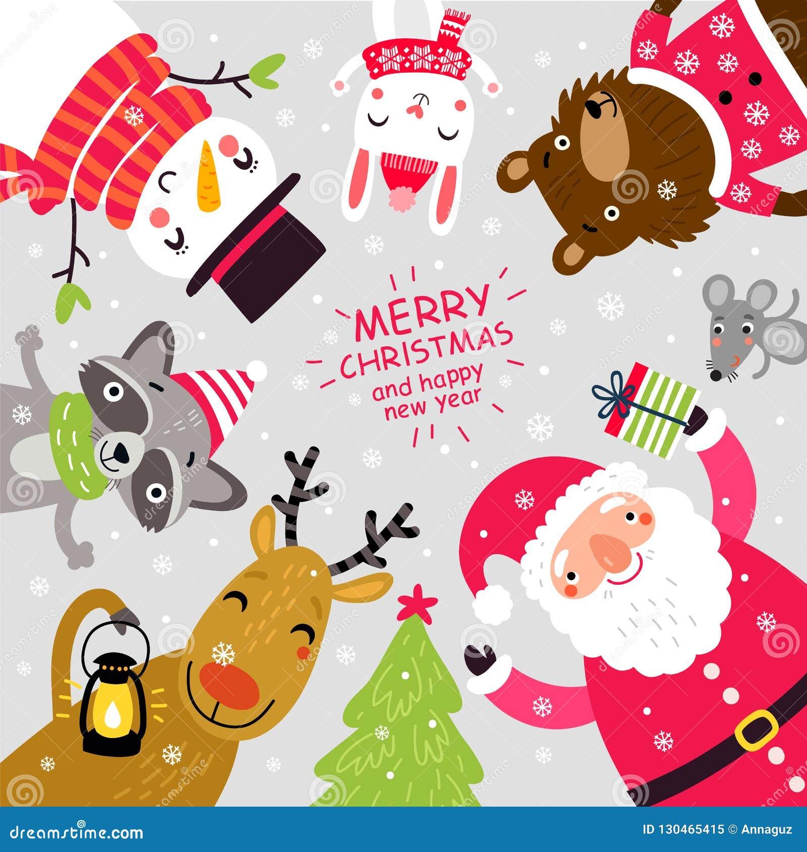 Kartka bożonarodzeniowa z Santa i zwierzętami charaktery śliczni