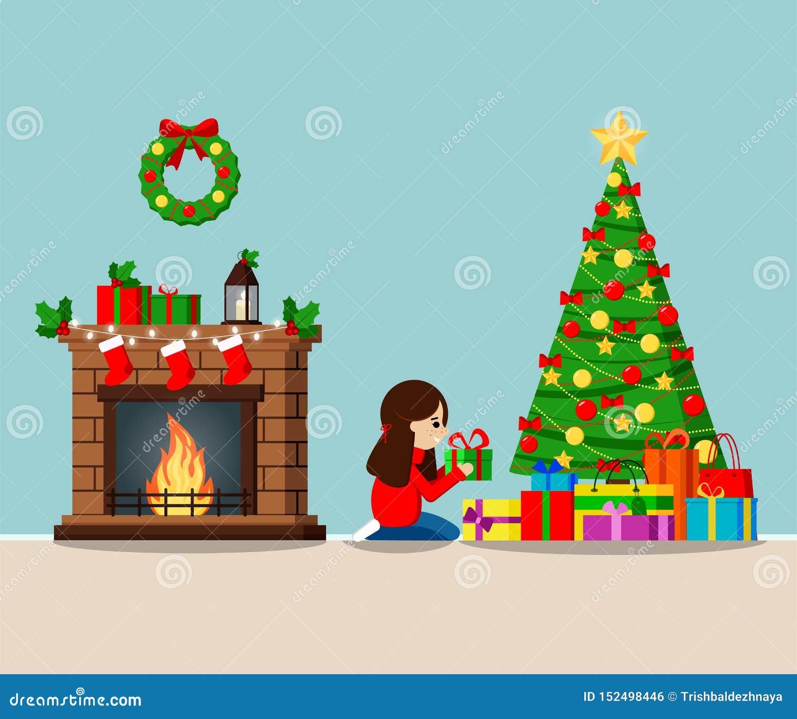 Kartka z pozdrowieniami z dekorującą choinką prezentami pod drzewem i, graba