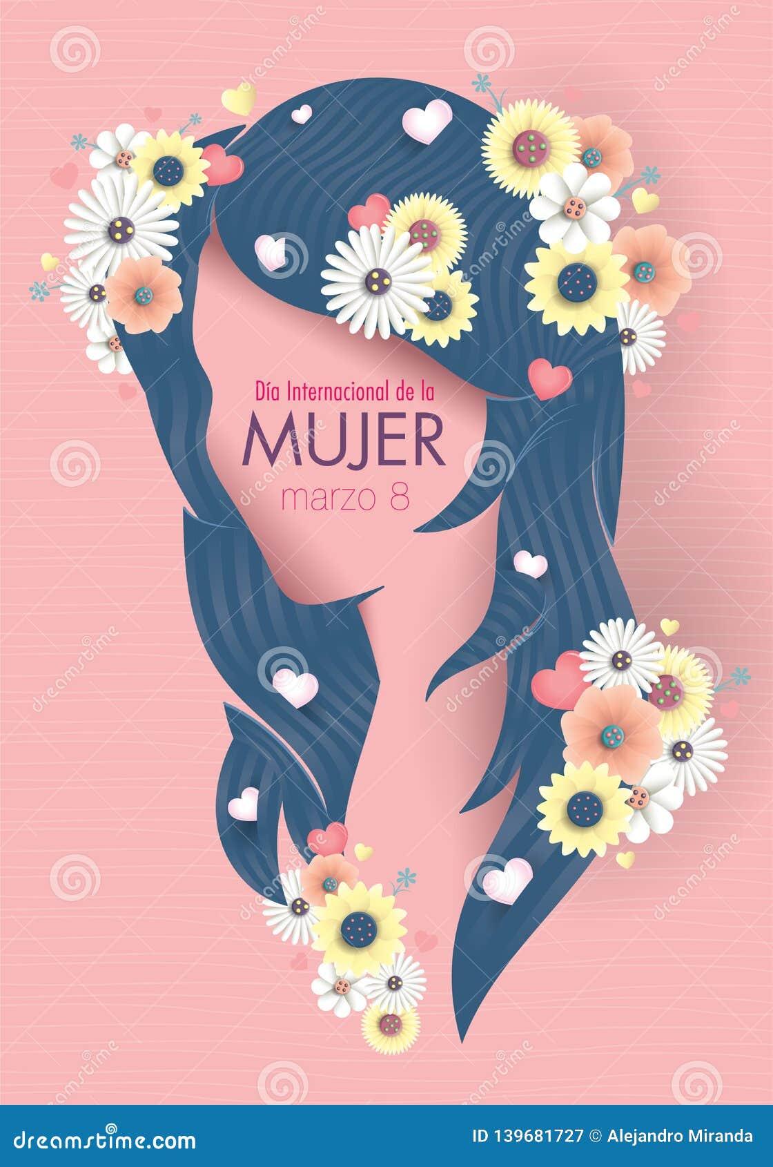 Kartka Z Pozdrowieniami MIĘDZYNARODOWY kobiet S dzień w Hiszpańskim języku Sylwetka kobiety głowa z długim błękitnym włosy dekoro