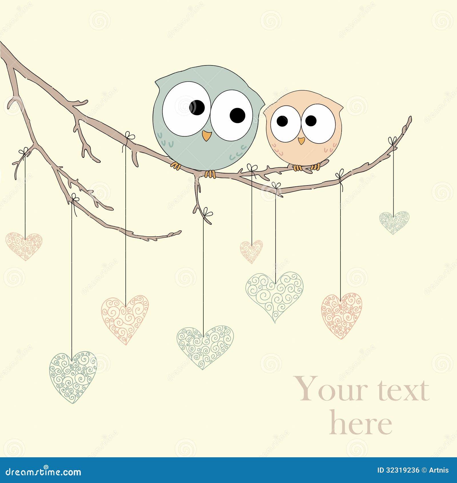 Kartka z pozdrowieniami z ślicznymi sowami w miłości