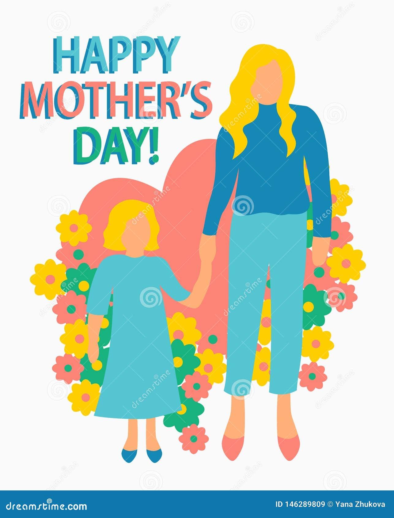 Kartki z pozdrowieniami mieszkania stylu ilustracji matka z dziecko matki dnia macierzy?stwa plakatowej Szcz??liwej c?rki bezszwo