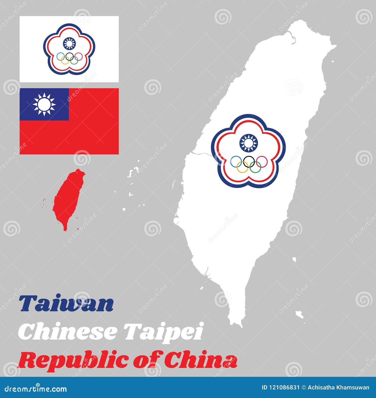 Kartlägga översikten av Taiwan eller kines Taipei, kinesTaipei den olympiska flaggan och flaggan av Republikenet Kina
