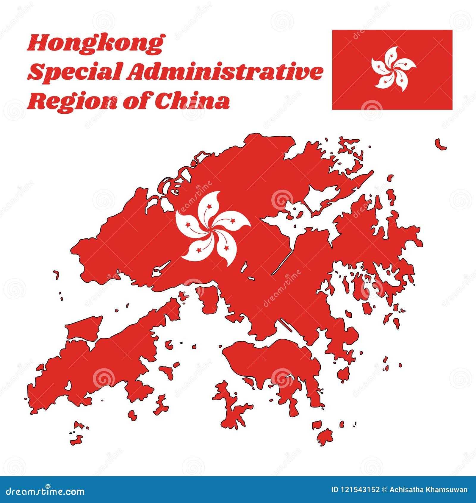 Kartlägga översikten och flaggan av Hong Kong, stiliserat, vit, blomma för fem-kronblad Bauhiniablakeana i mitten av ett rött fäl