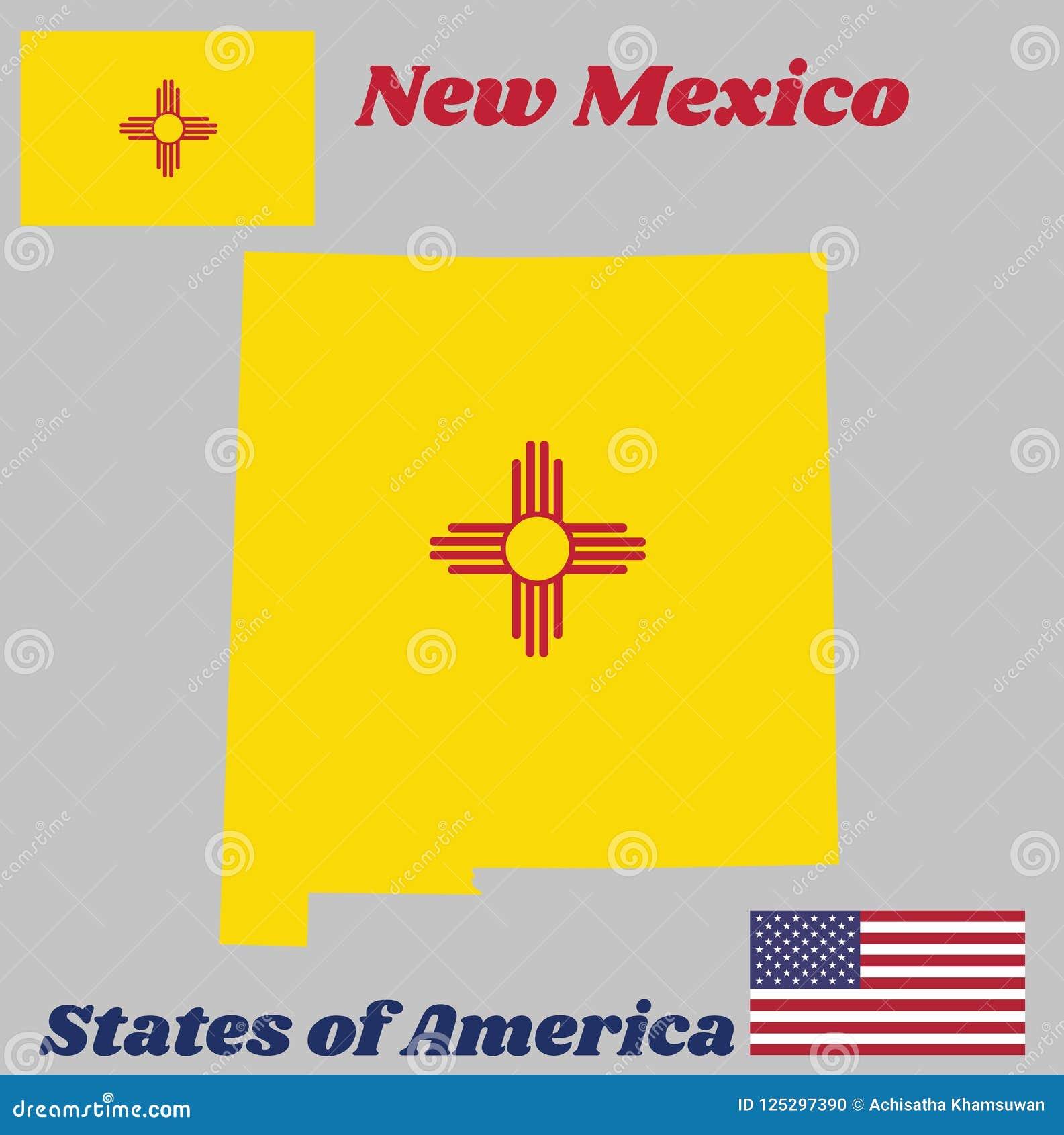 Kartlägga översikten och flaggan av nytt - Mexiko, det rött och gult av gamla Spanien Det forntida Zia Sun symbolet i rött