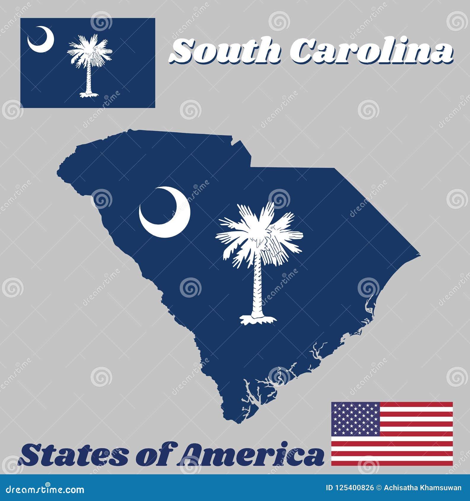 Kartlägga översikten och flaggan av South Carolina, det vita palmettoträdet på ett indigoblått fält Kantonen innehåller ett vitt