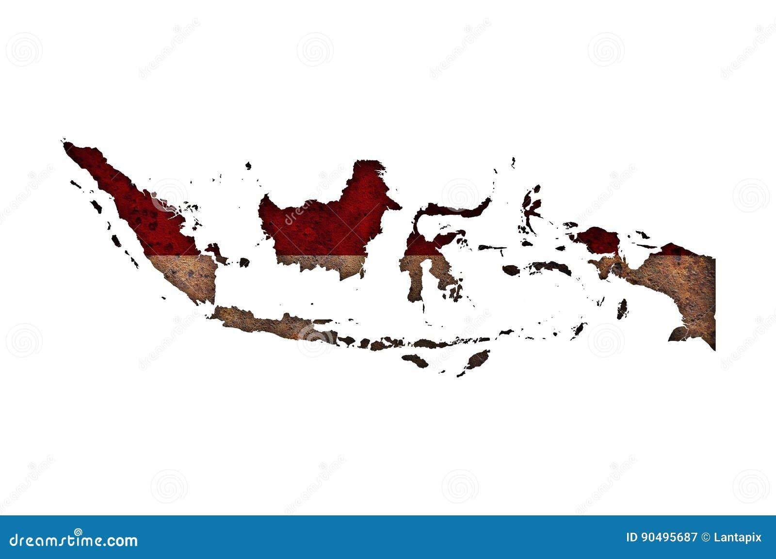 Kartlägga och flaggan av Indonesien på rostig metall