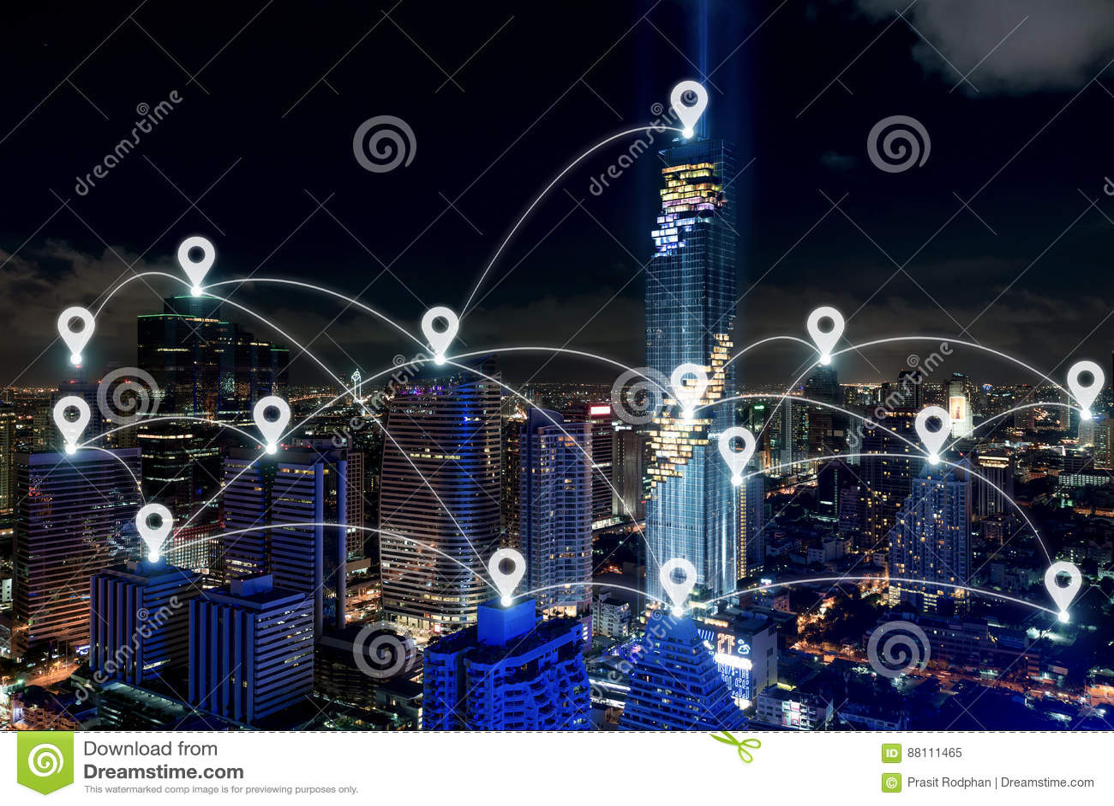 Kartlägga stiftet på det smarta stads- och radiokommunikationsnätverket, busine