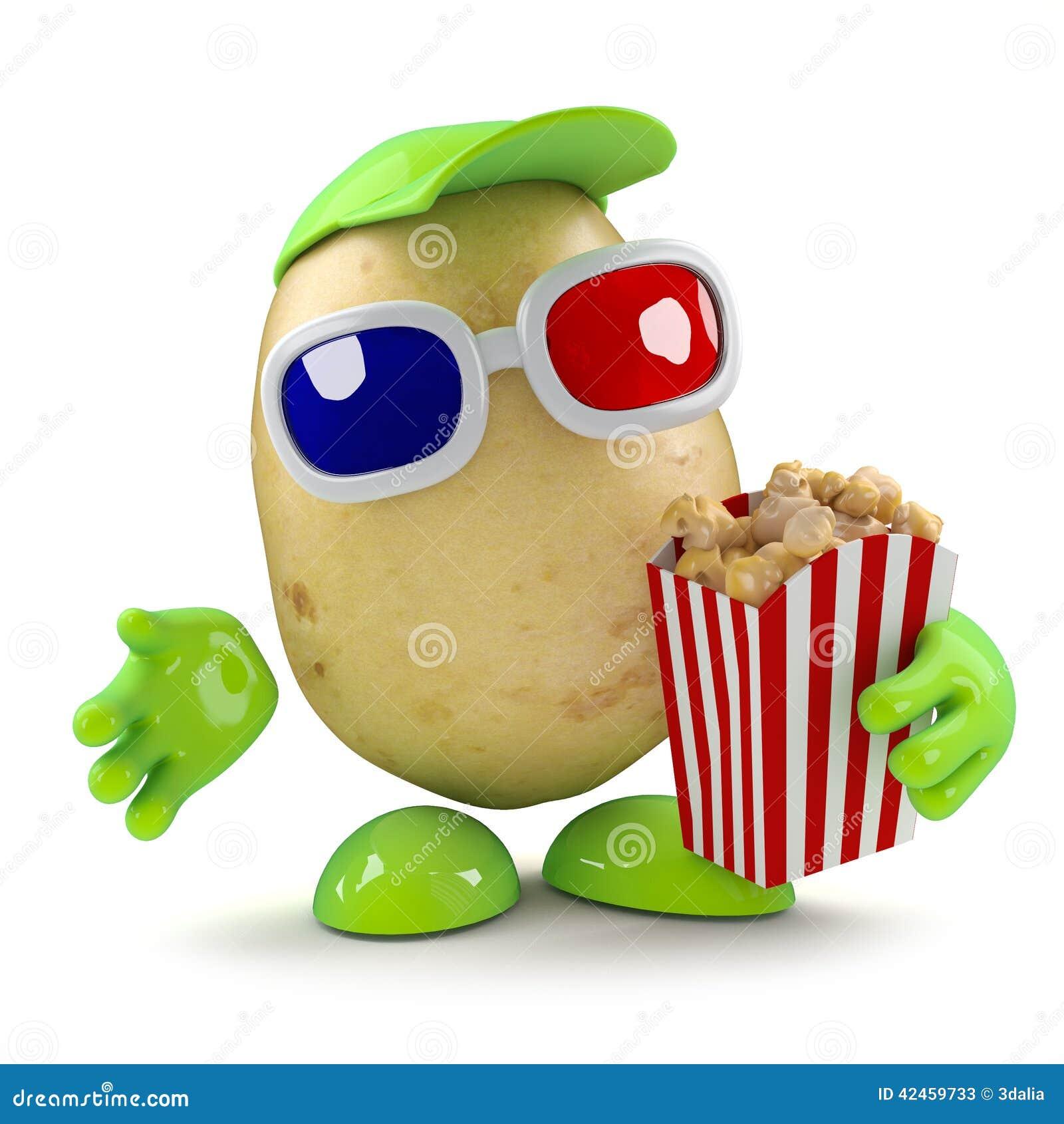 Kartoffel 3d eays Popcorn an den Filmen