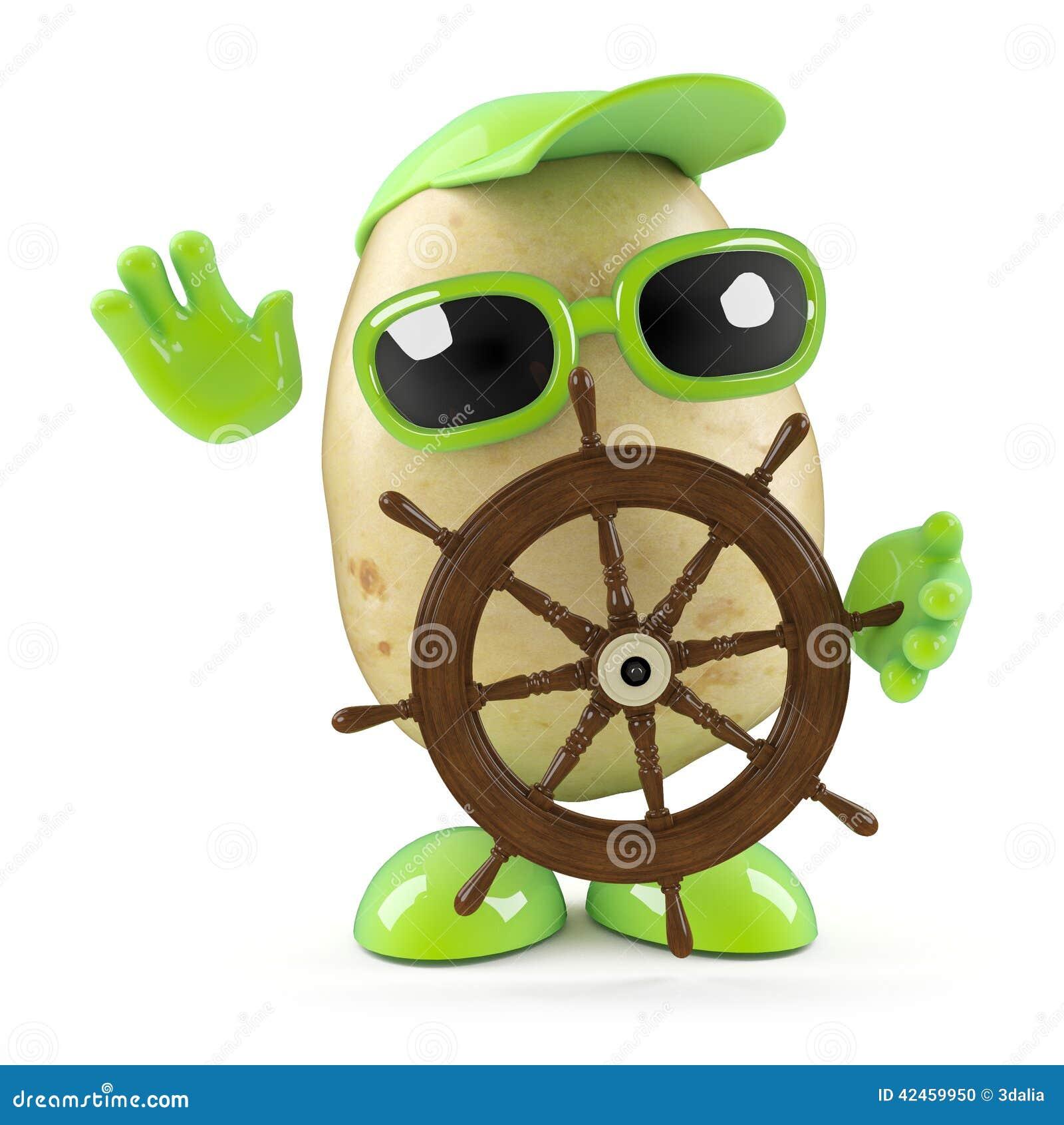 Kartoffel 3d steuert seine Yacht