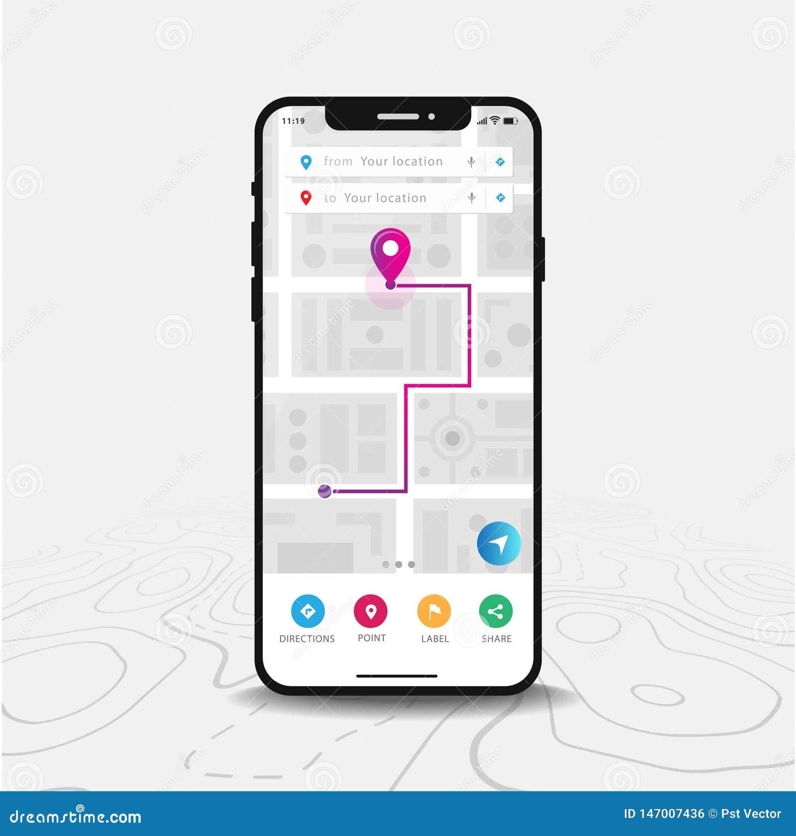 Kartografuje GPS nawigacji, Smartphone mapę zastosowanie, i purpury sprecyzowani na ekranie