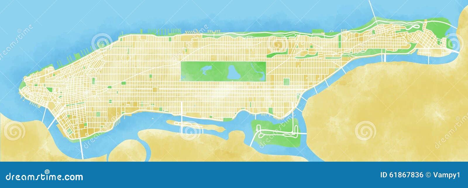 Kartografuje Manhattan, Miasto Nowy Jork, rysujący ręką