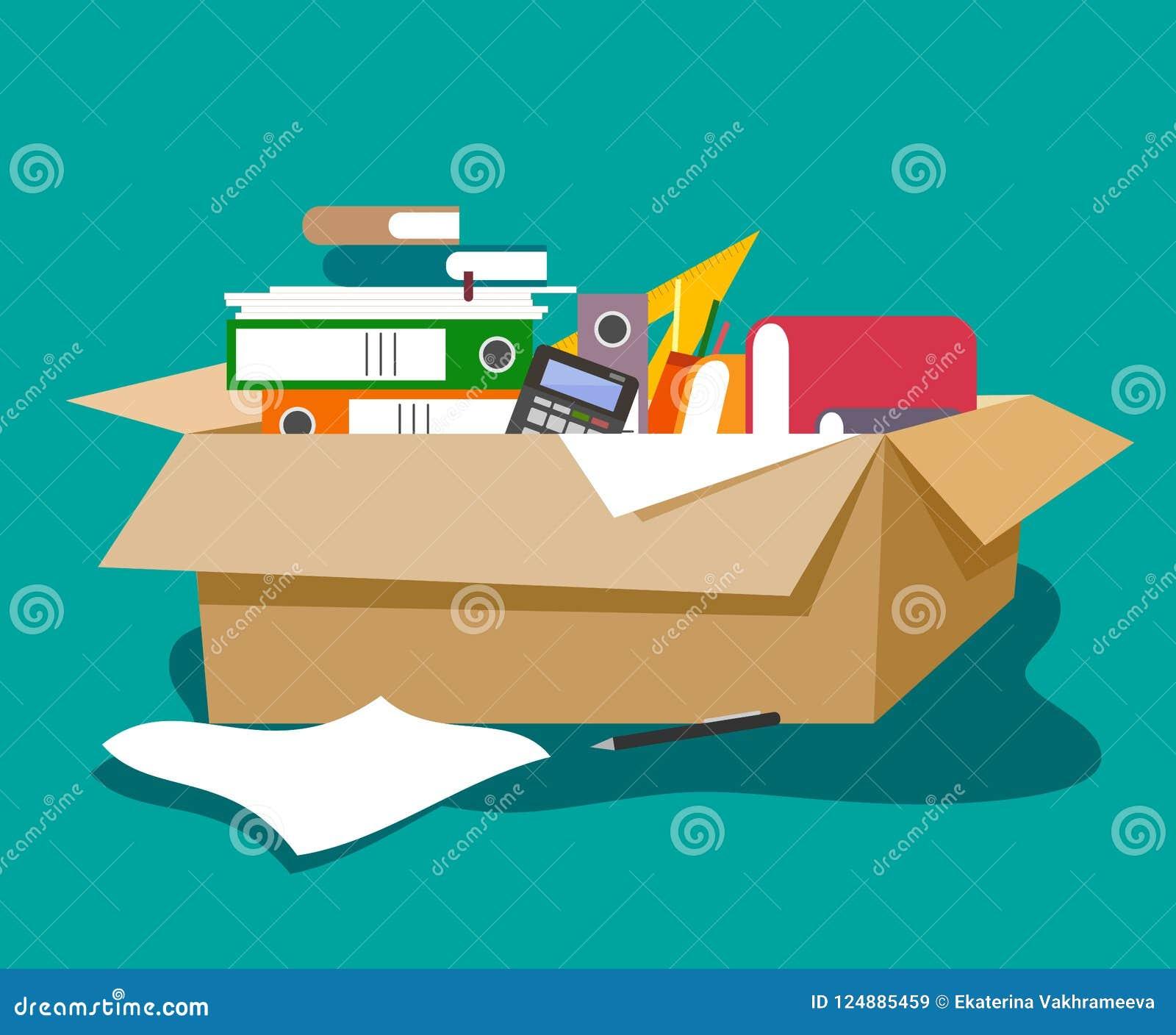 Karton z biurowym materiały w stylu mieszkania Falcówki, papiery, książki, kalkulator, pióra