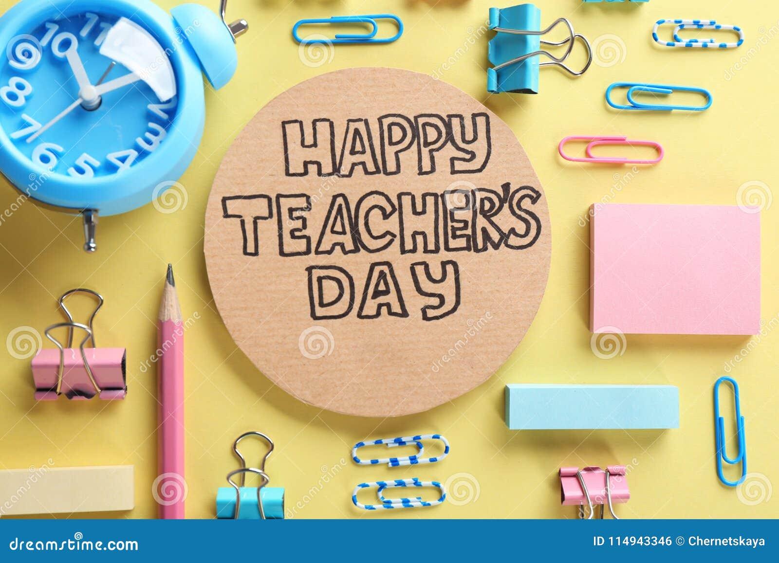 Karton z wpisowym SZCZĘŚLIWYM nauczyciela ` S dniem