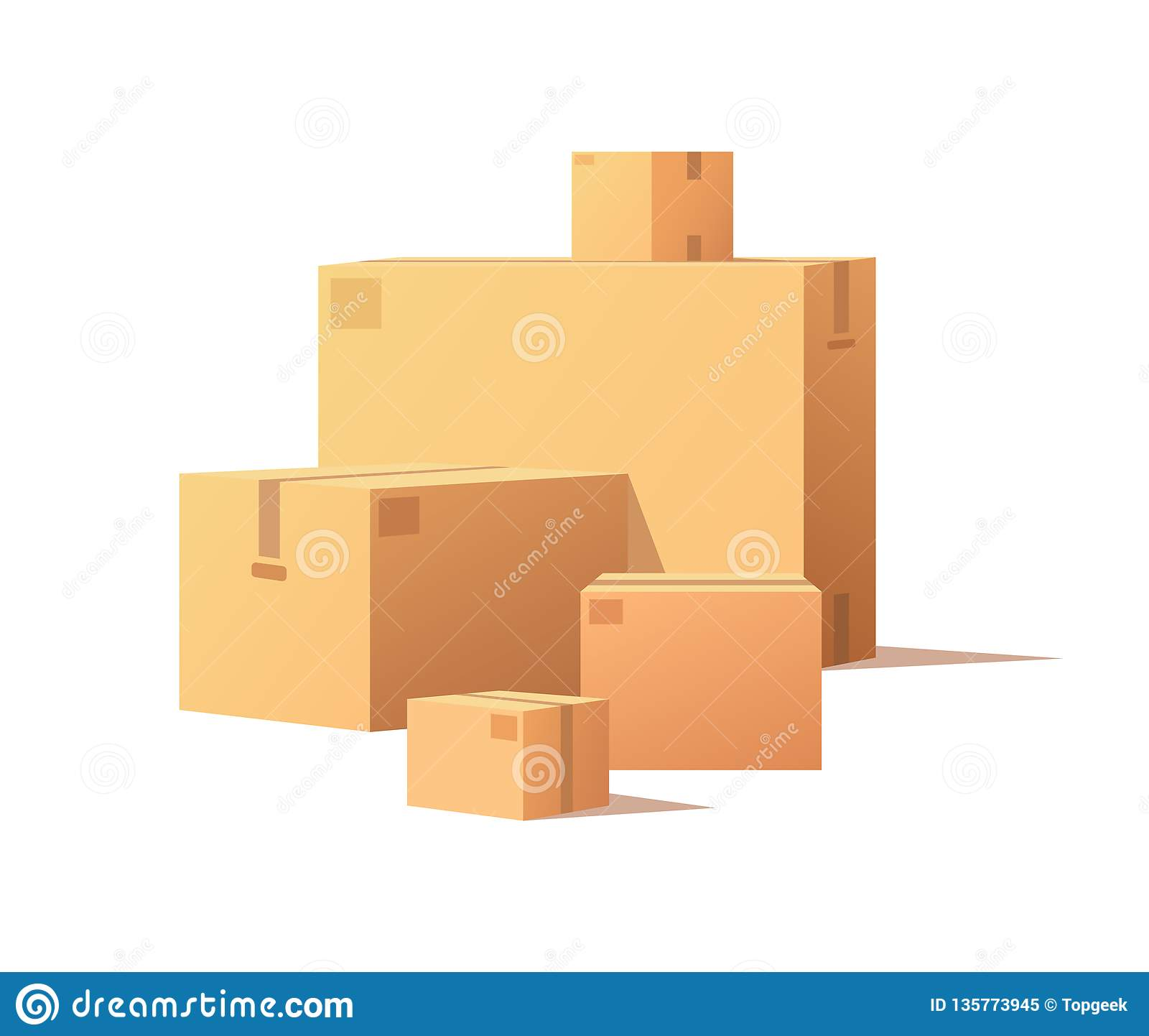 Kartony Duzi i Mały Rozmiar Odosobniony wektor