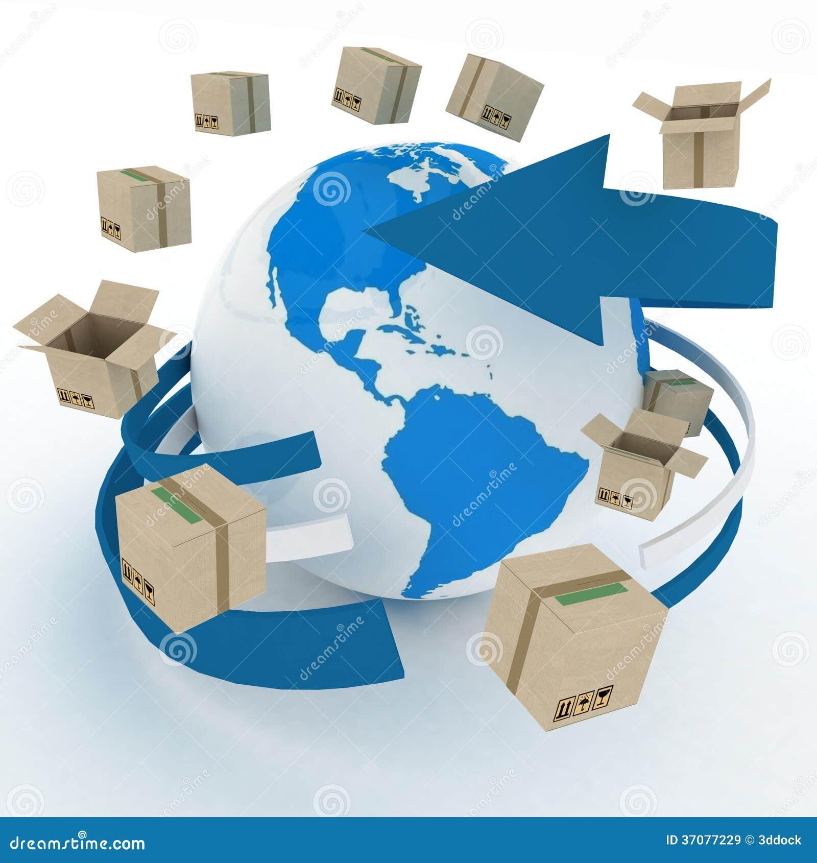 Download Kartony Wokoło Kuli Ziemskiej Ilustracji - Ilustracja złożonej z przemysłowy, ładunek: 37077229