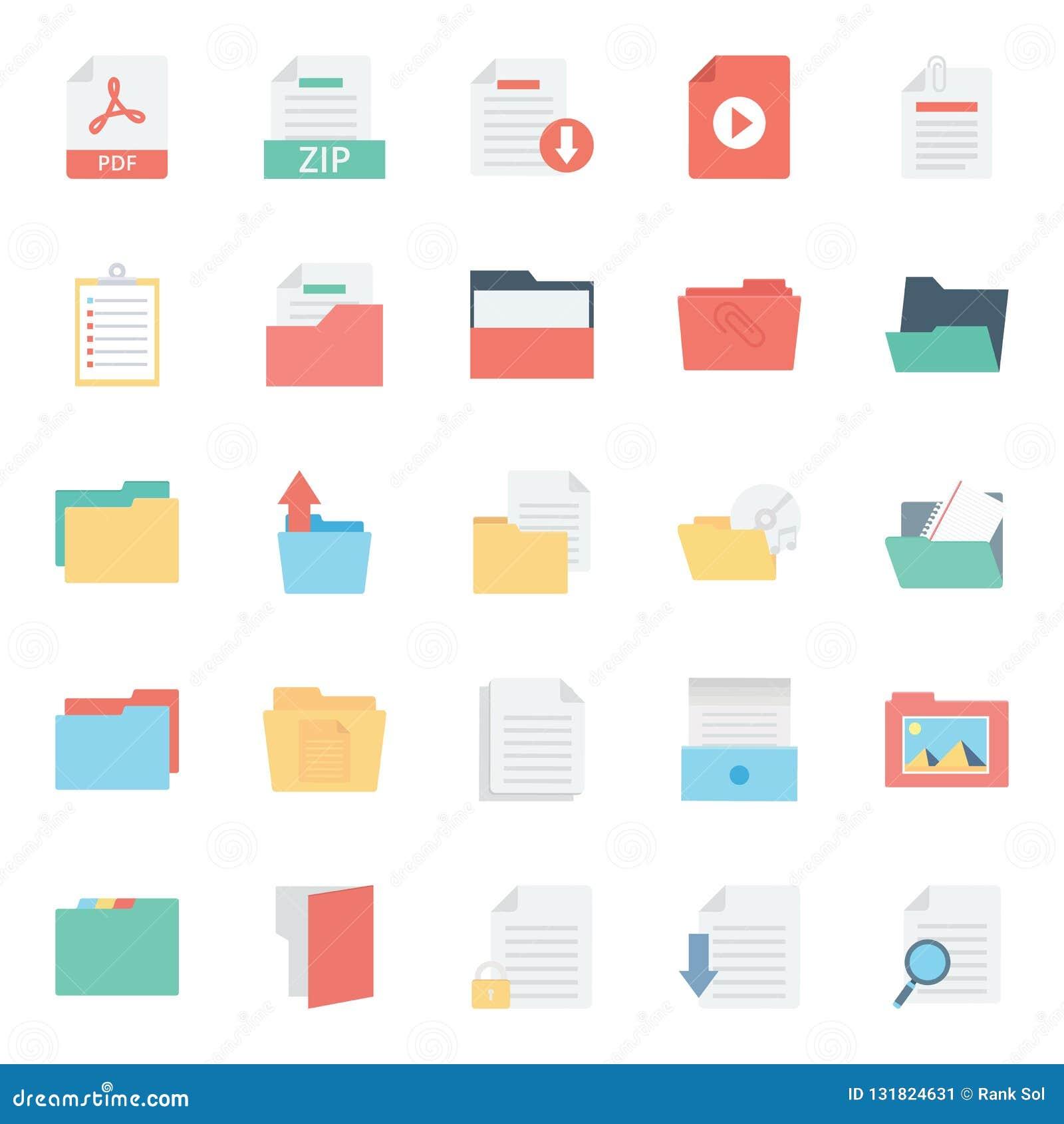 Kartoteki i falcówka Odizolowywali wektorowe ikony Ustawiają Każdy falcówkę lub kartotek ikony Mogą być łatwo kolorem modyfikując