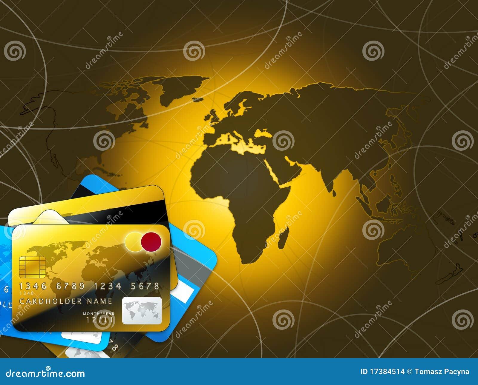Karty kredytują mapa złotego świat