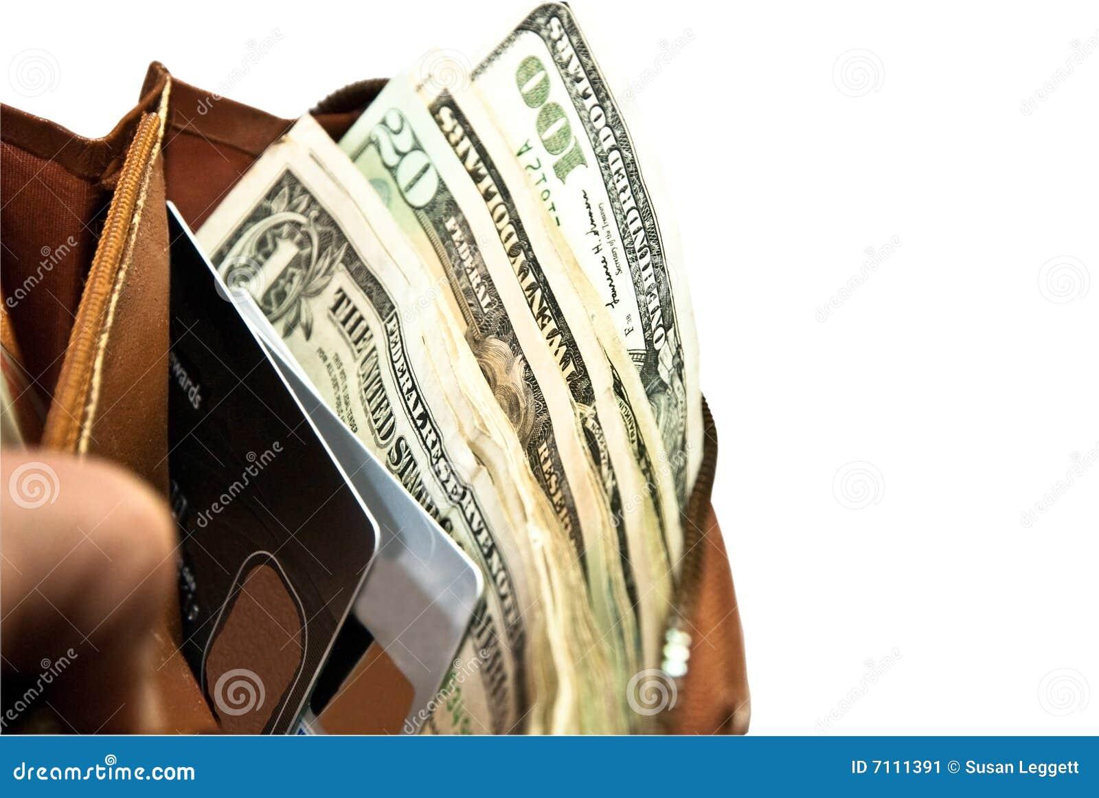 Karty kredytują pieniądze portfel
