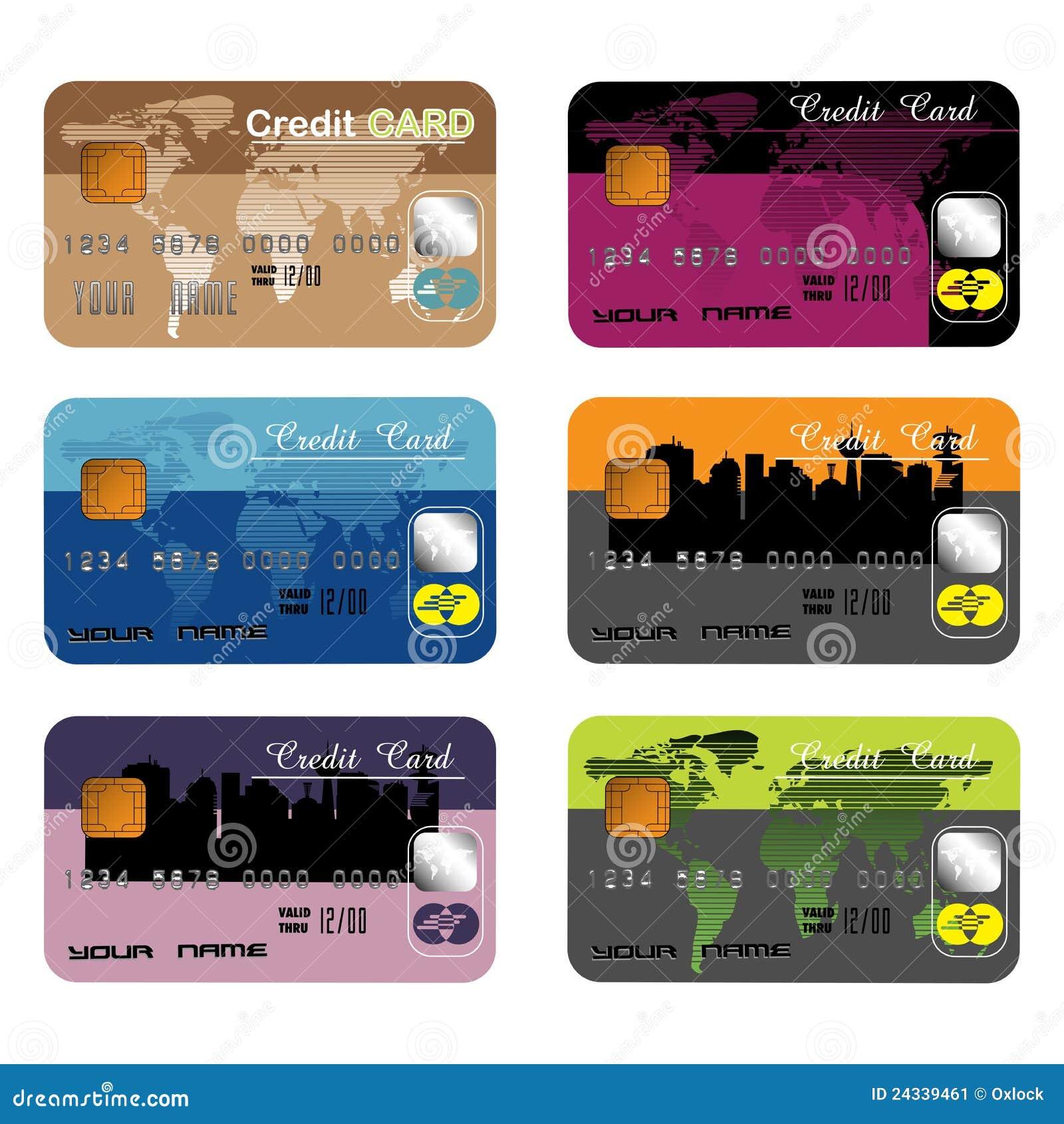 Karty kredytują różnego set sześć