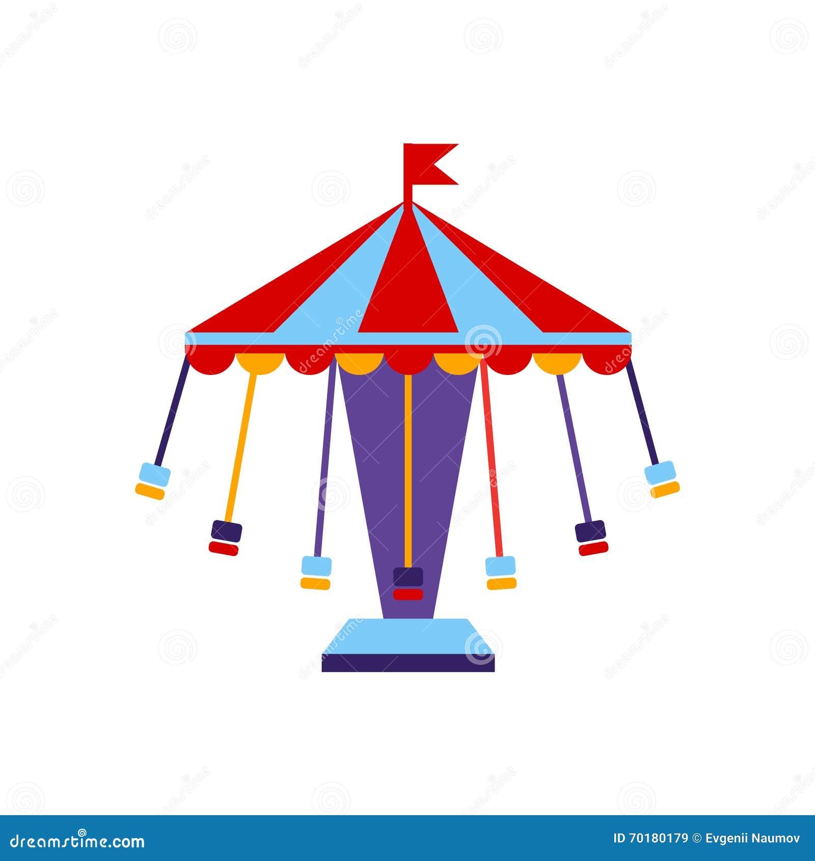 Karusellen med sitter på kedjor