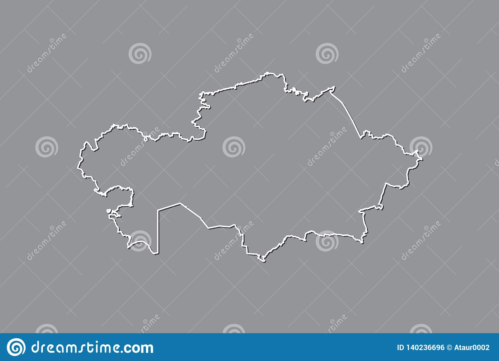 Kasachstan-Vektorkarte mit einzelner Grenze Grenze unter Verwendung der weißen Farbe auf dunkler Hintergrundillustration