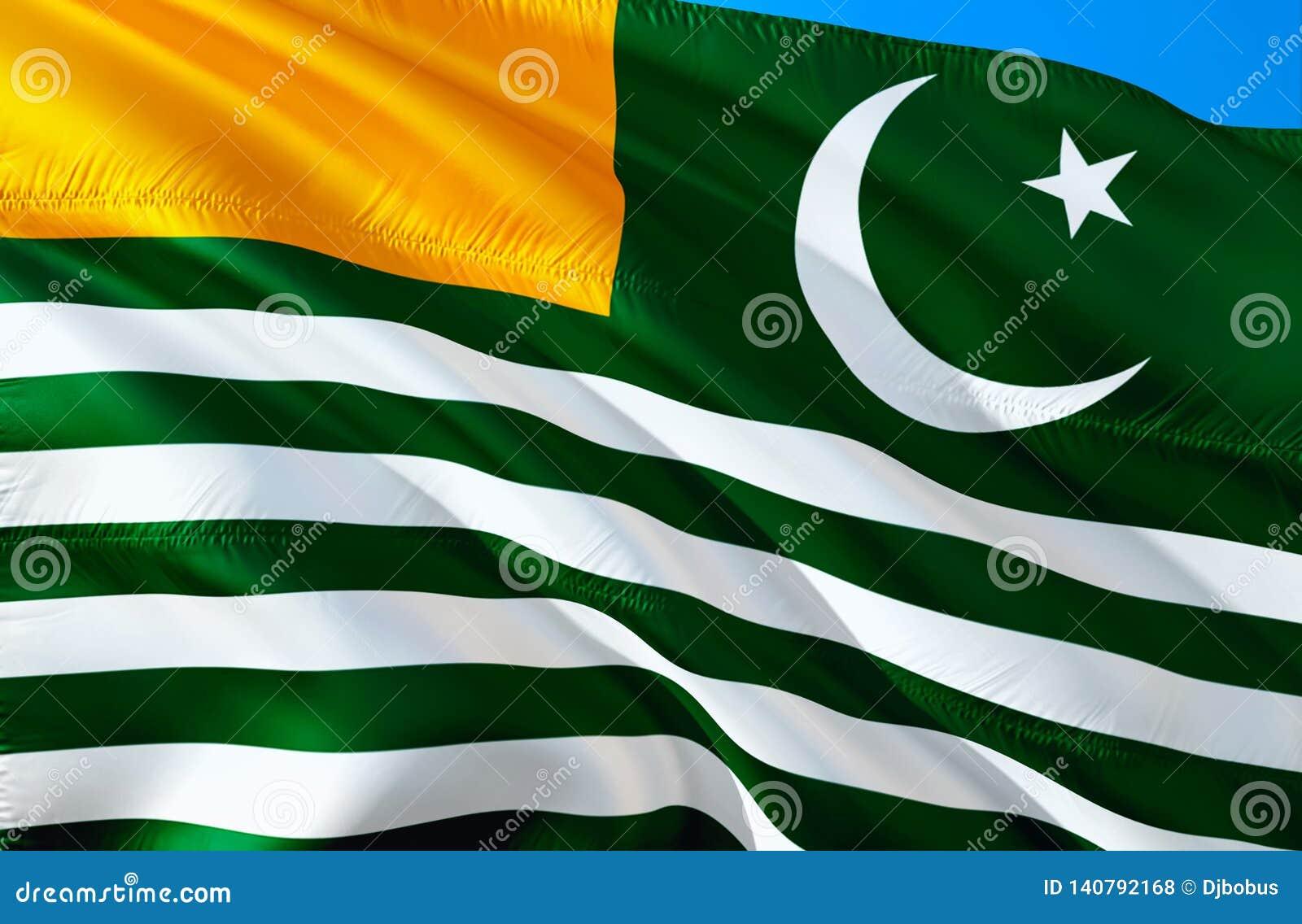 Kashmir flagga vinkande design för flagga 3D Det nationella symbolet av Azad Kashmir, tolkning 3D Azad Kashmir 3D vinkande tecken