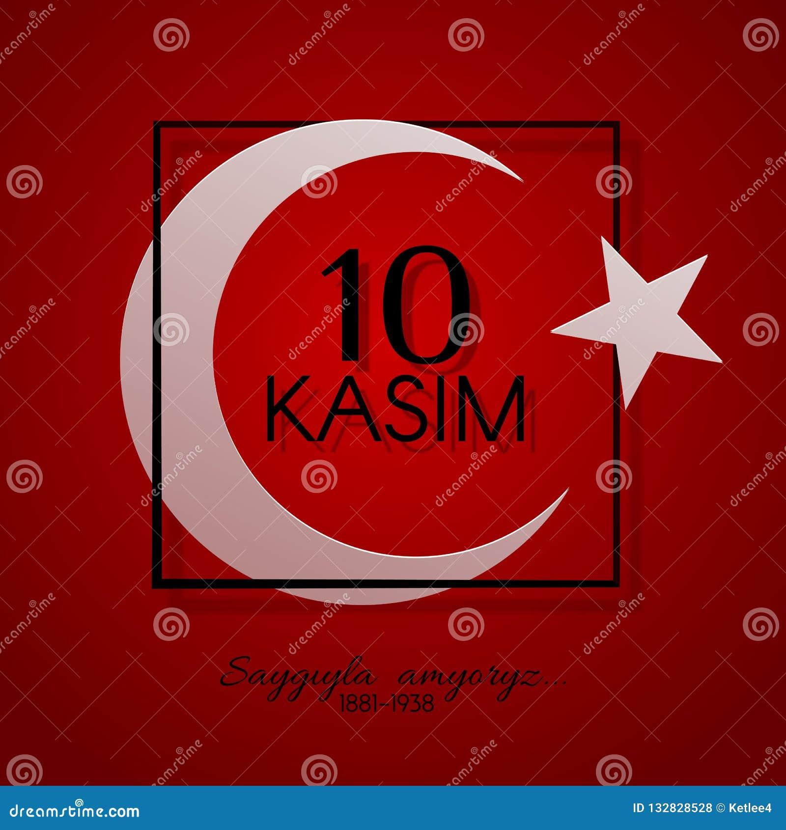 10 kasim dzień pamięć Ataturk w Indyczym prezydencie i założycielu Tureccy republika symbole Turcja Półksiężyc i gwiazdowi