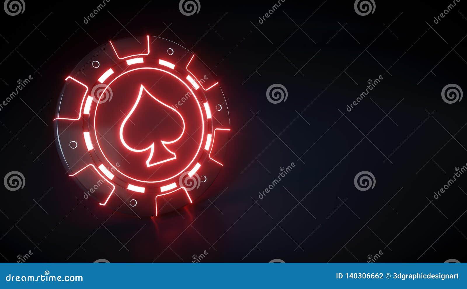 Kasino-Chip mit glühendem rote Licht- und Spatenneonsymbol lokalisiert auf dem schwarzen Hintergrund - Illustration 3D