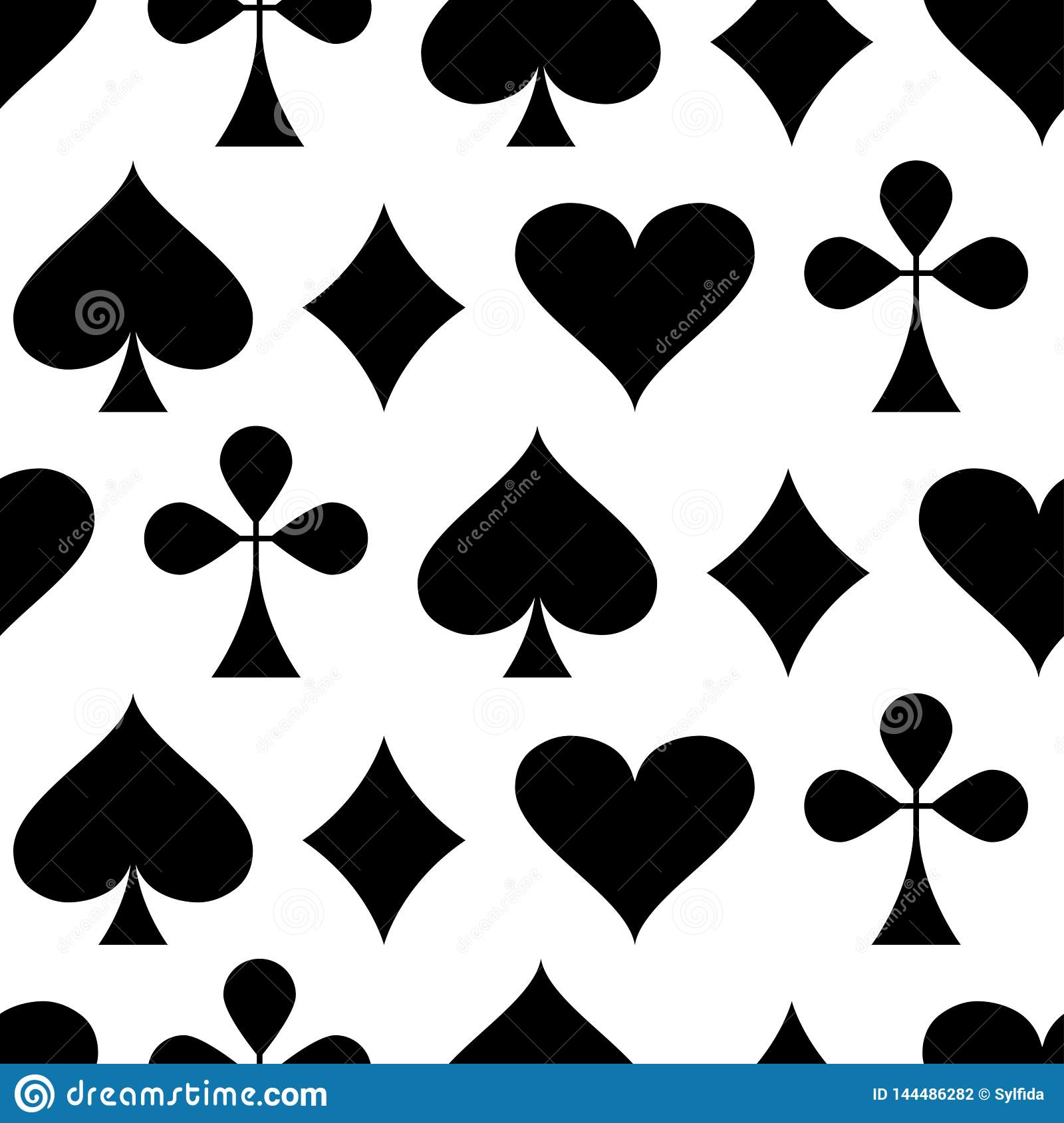 Kasino-spielendes Thema Nahtloses Muster mit Spielkarteklagen Pokerkartenklagen - Herzen, Clubs, Spaten und Diamanten Vektor