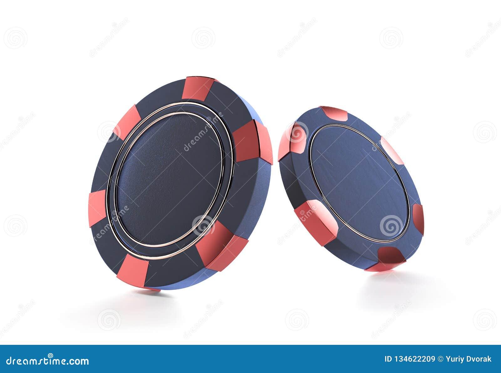 Kasinochips getrennt auf Weiß Chips des Kasinospiels 3D On-line-Kasinofahne oder Kasinologo Blue Chip Spielendes Konzept