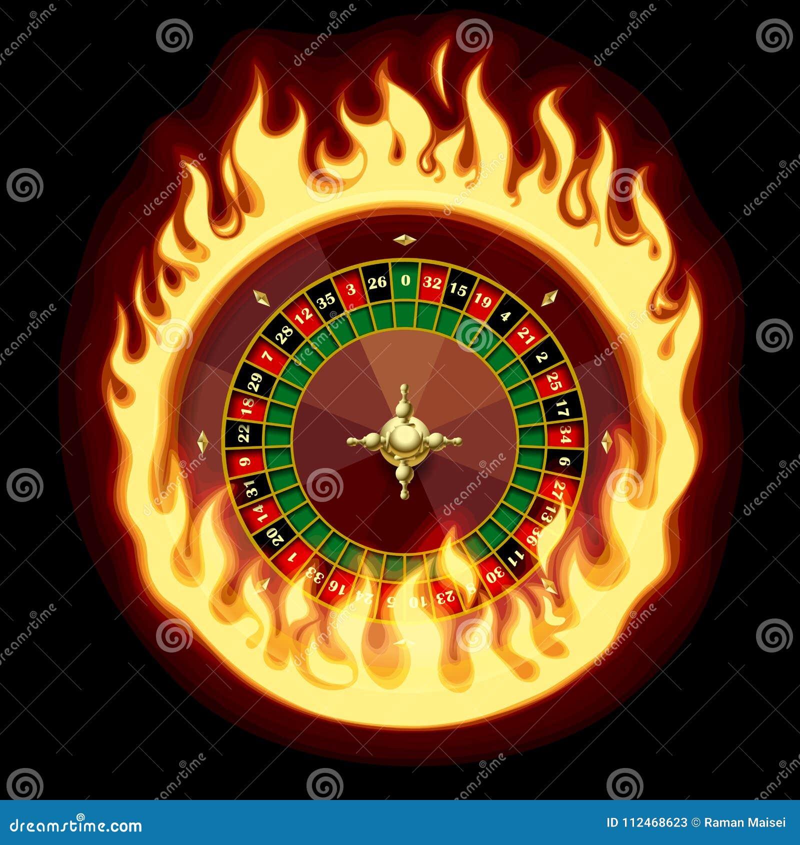 Kasinorouletten rullar in den brännheta cirkeln på mörker - grön bakgrund