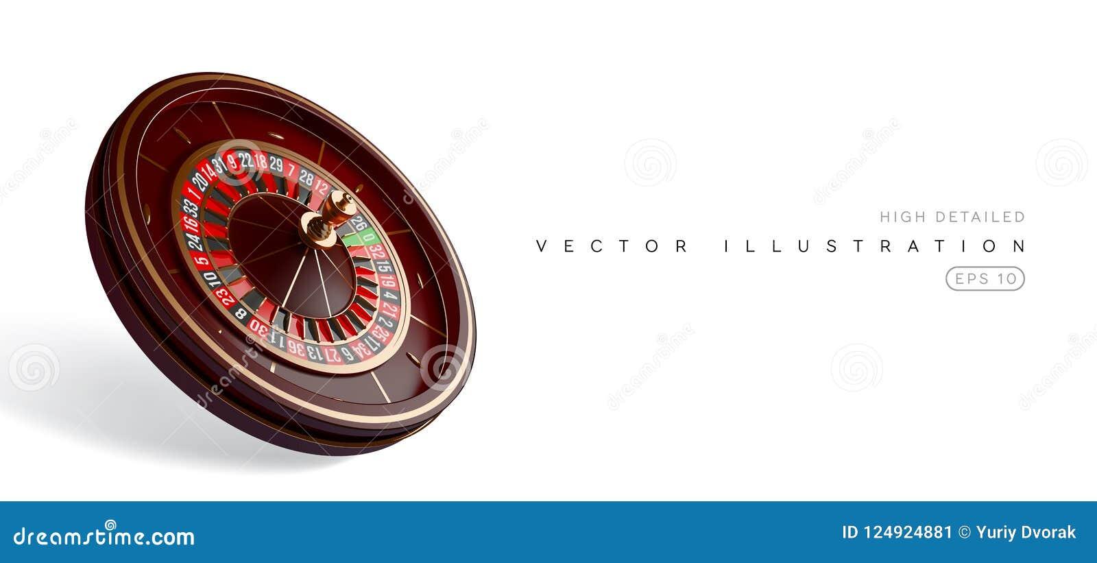 Kasinorouletthjul som isoleras på vit bakgrund realistisk illustration för vektor 3D Online-pokerkasinoroulett