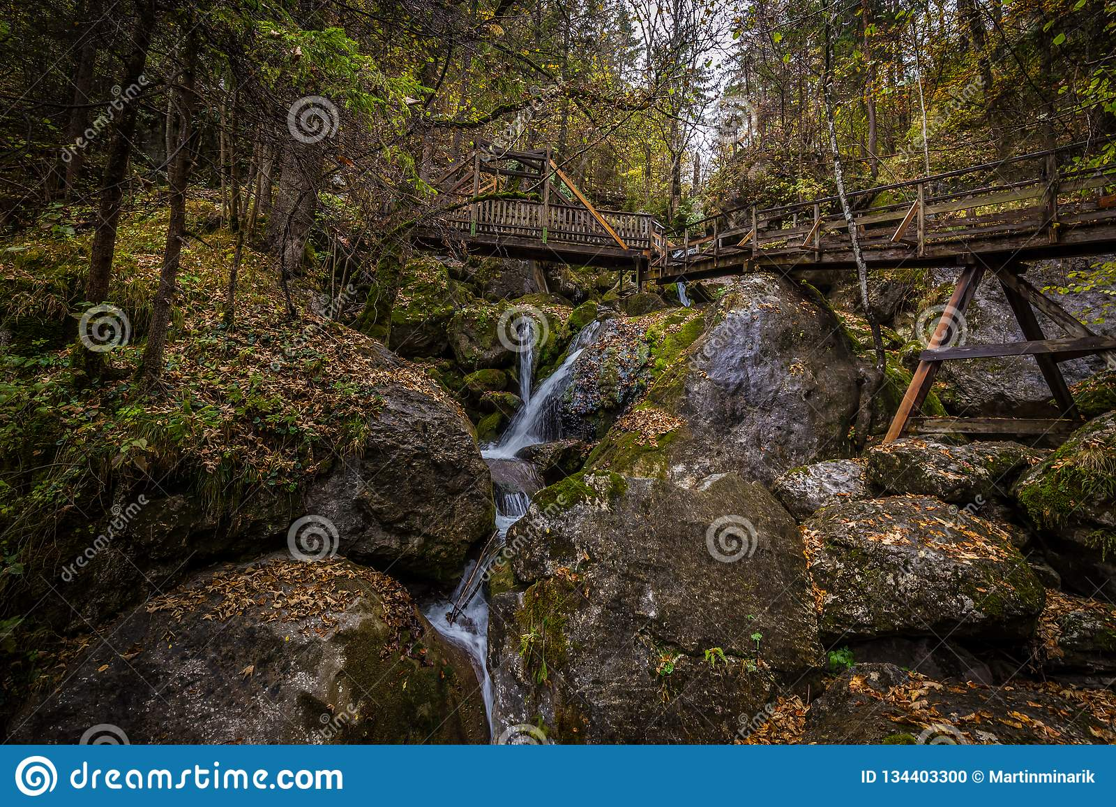Kaskaden über moosige Felsen mit Holzbrücke über dem Wasserfall im bunten Herbstwald