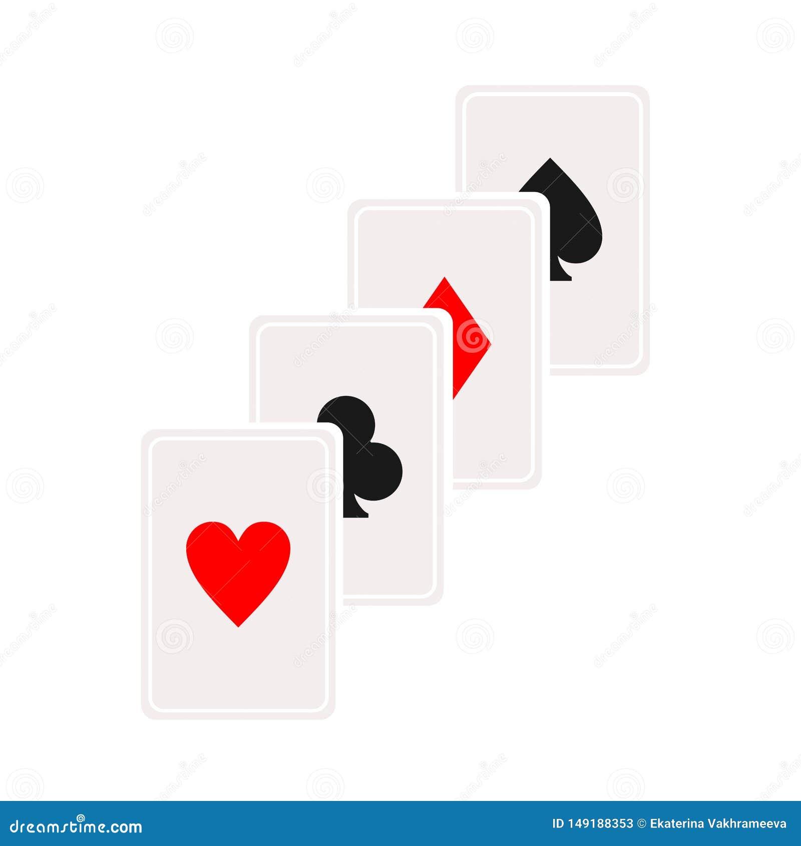 Kaskadkortsymbol Spela kortsymbol, logoillustration Vektorisolat p? vit bakgrund Kasinotecken dobbleri