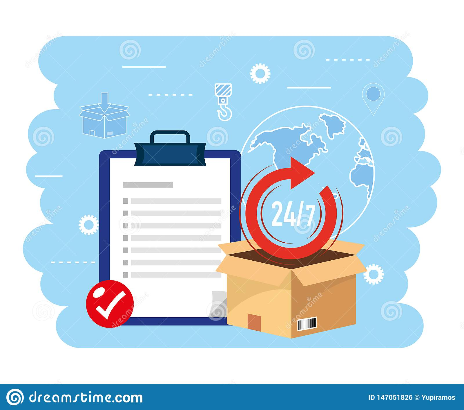 Kastenpaket mit Check-Liste zum Zustelldienst