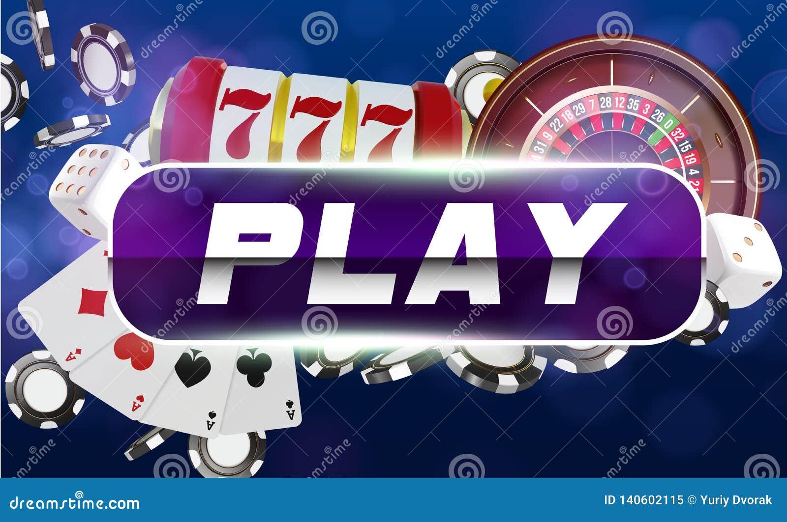Kasynowe karty do gry, kostki do gry, ruleta i układy scaleni, Błękitny round sztuki guzik z kruszcową granicą, kasynowy tło Onli