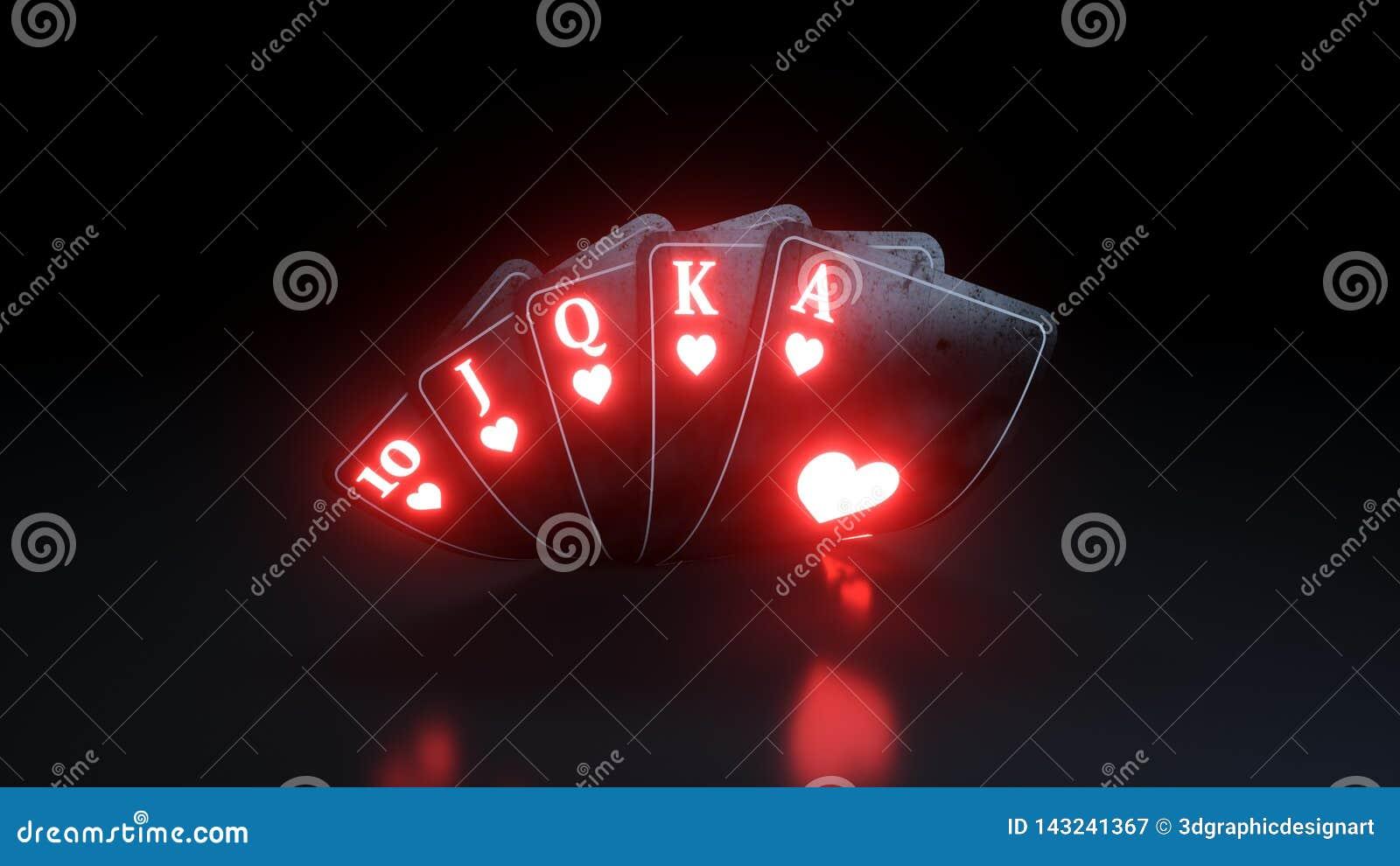 Kasynowy Uprawia hazard pojęcie Królewski sekwens w serce grzebaka kartach Na Czarnym tle - 3D ilustracja
