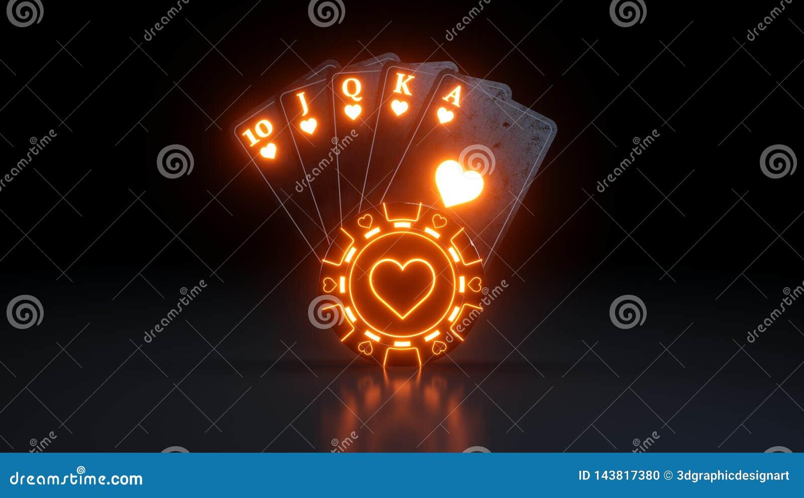 Kasynowy Uprawia hazard pojęcie Królewski sekwens w serce grzebaka kartach Z Neonowymi światłami Odizolowywającymi Na Czarnym tle