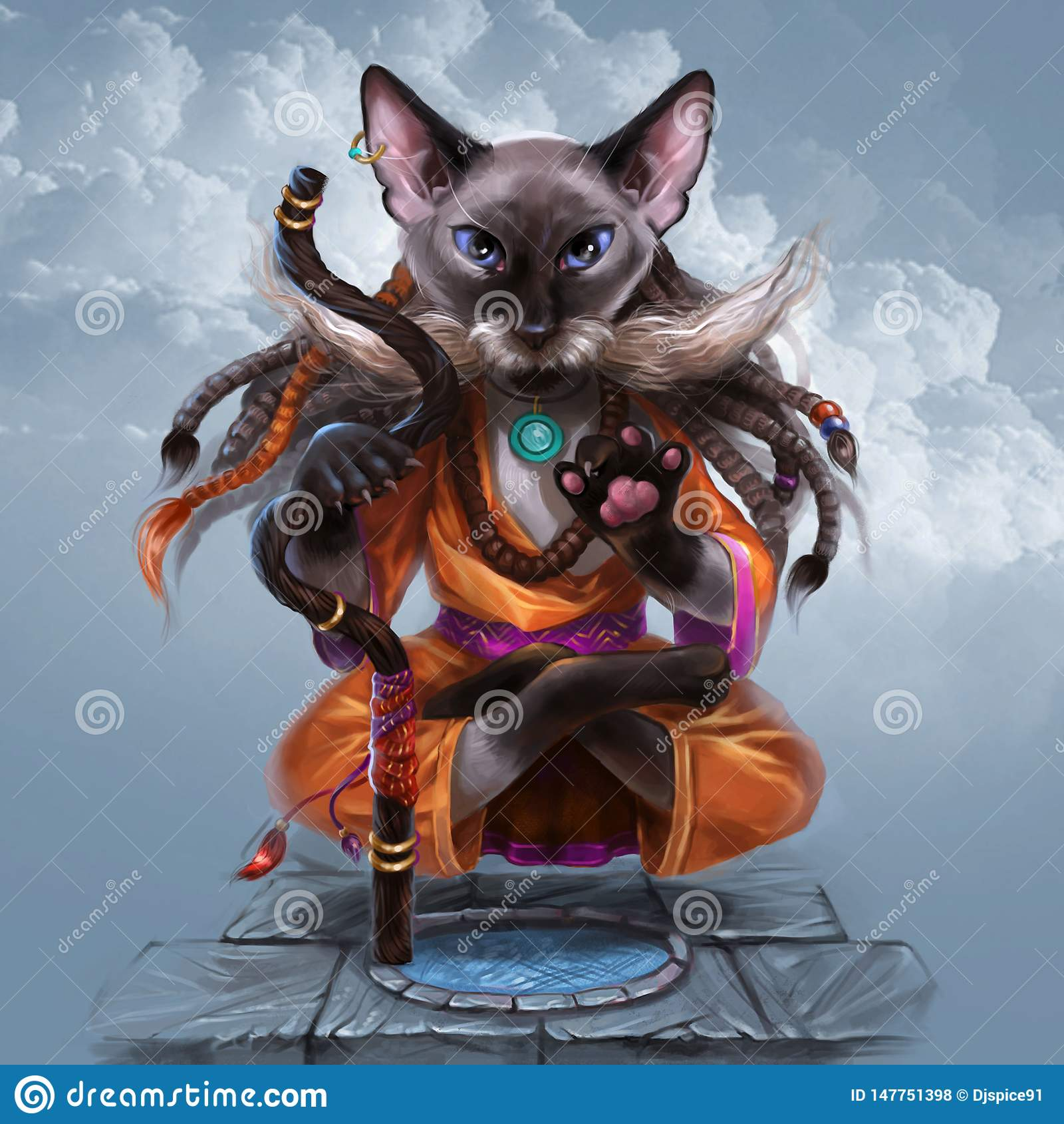 Kat die yoga doen en in de lucht drijven