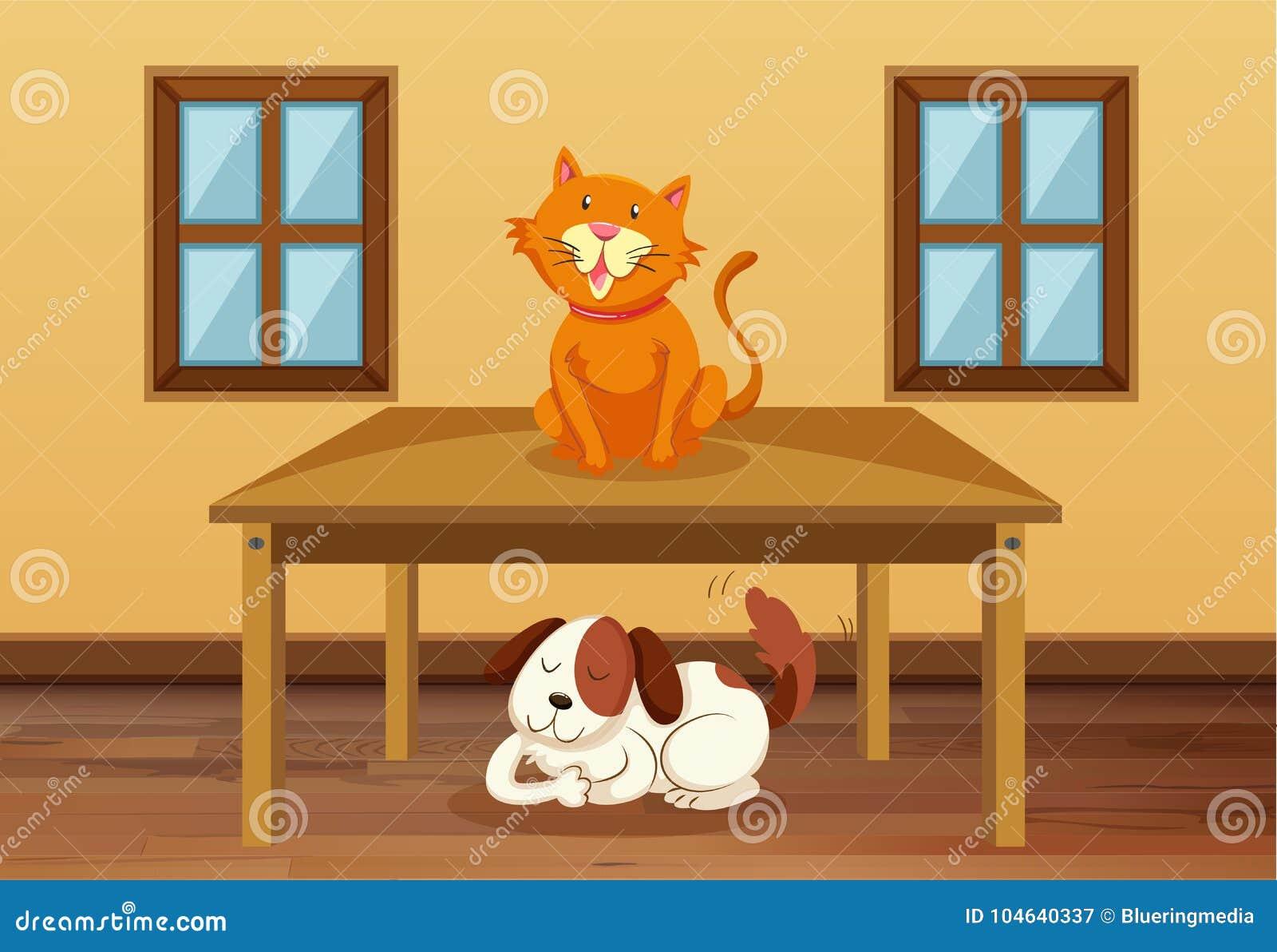 Download Kat en hond in de ruimte vector illustratie. Illustratie bestaande uit hout - 104640337