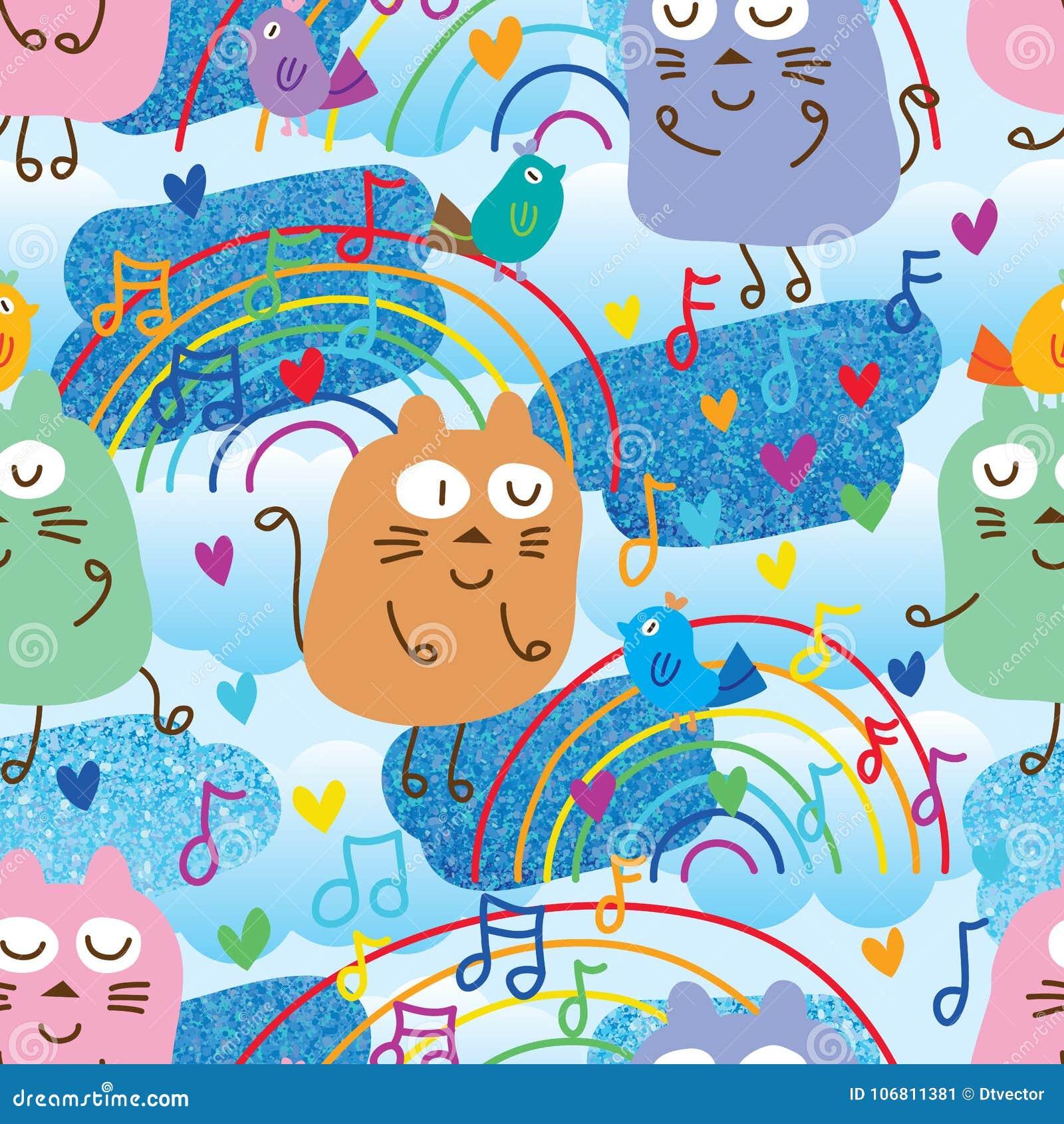 Kat en vogel het blauw van de muzieknota schittert naadloos patroon