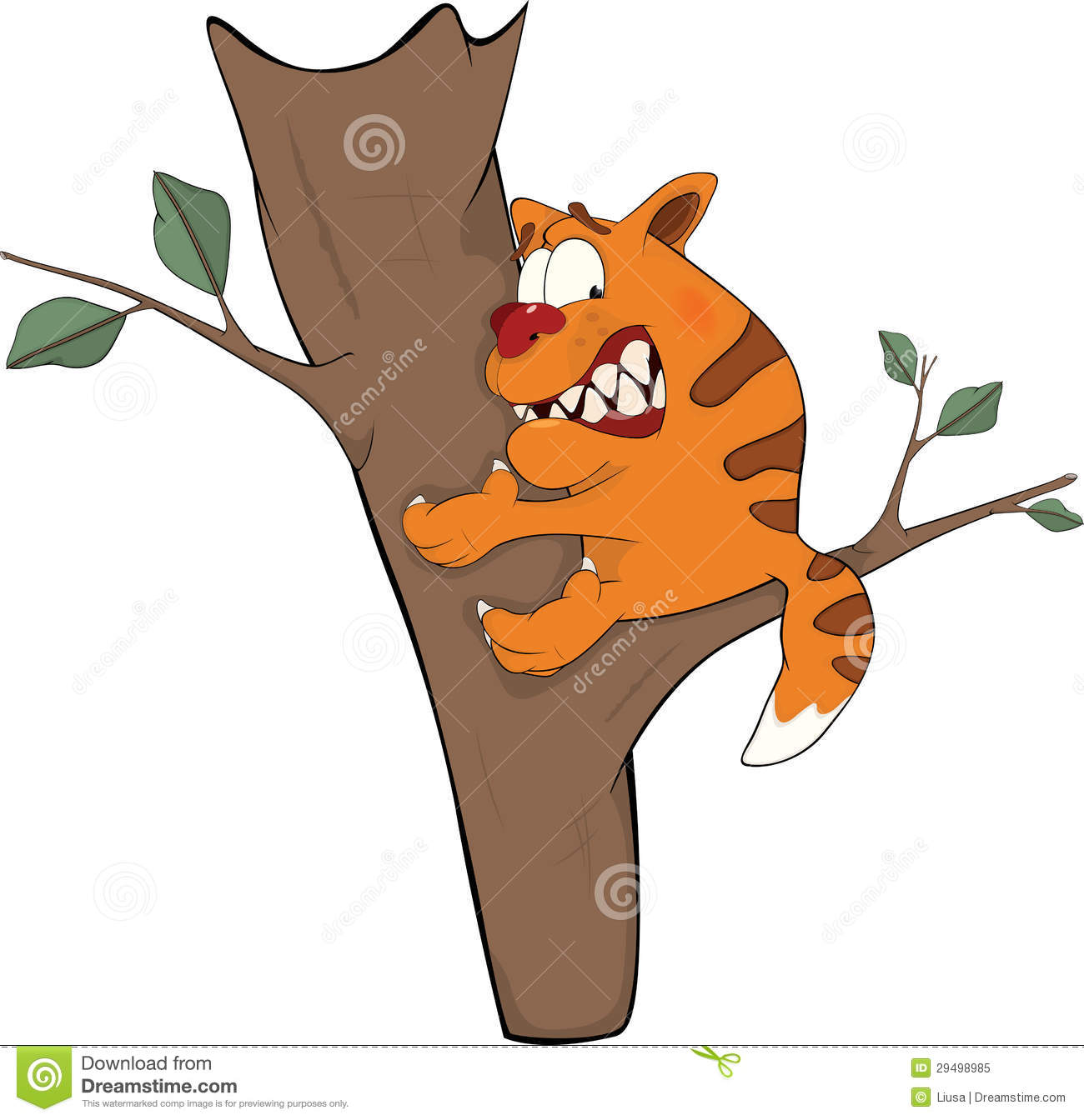 Cat Dangling From Tree Free Cartoon Image