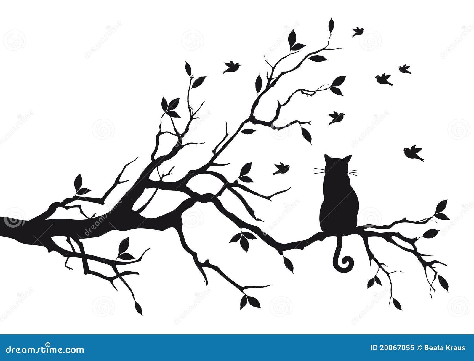 kat op een boomtak vector illustratie  afbeelding