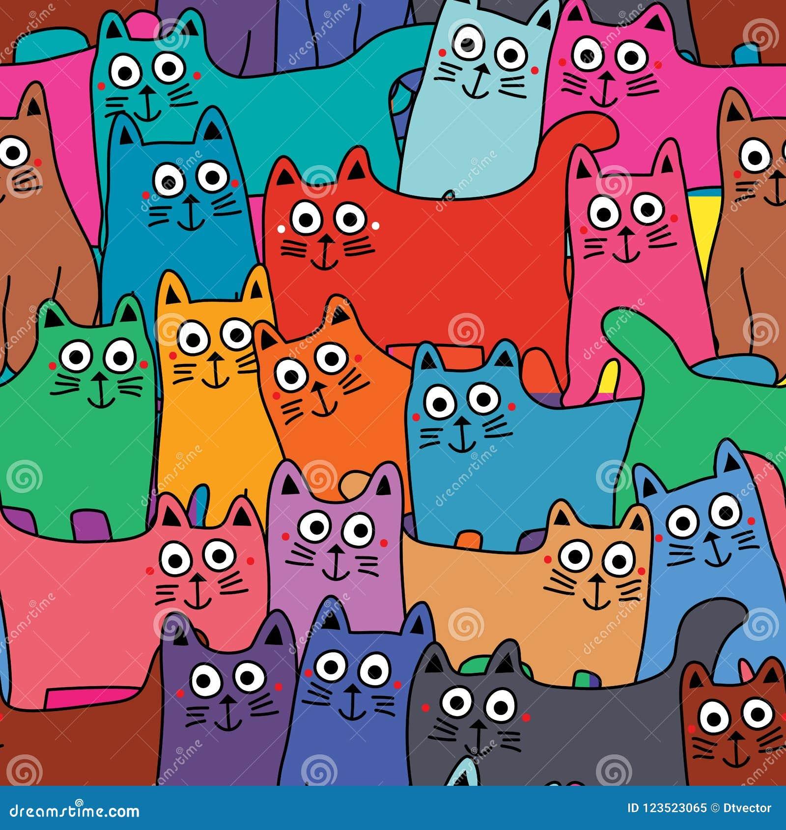 Kat velen kleurrijk volledig pagina naadloos patroon